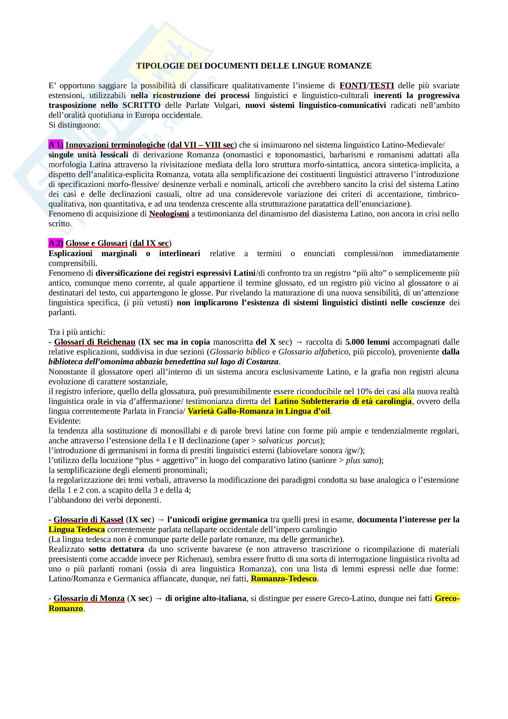 """Riassunto """"Lingue Romanze, primi documenti e tipologie testuali"""", manuale consigliato Origini romanze, Asperti"""