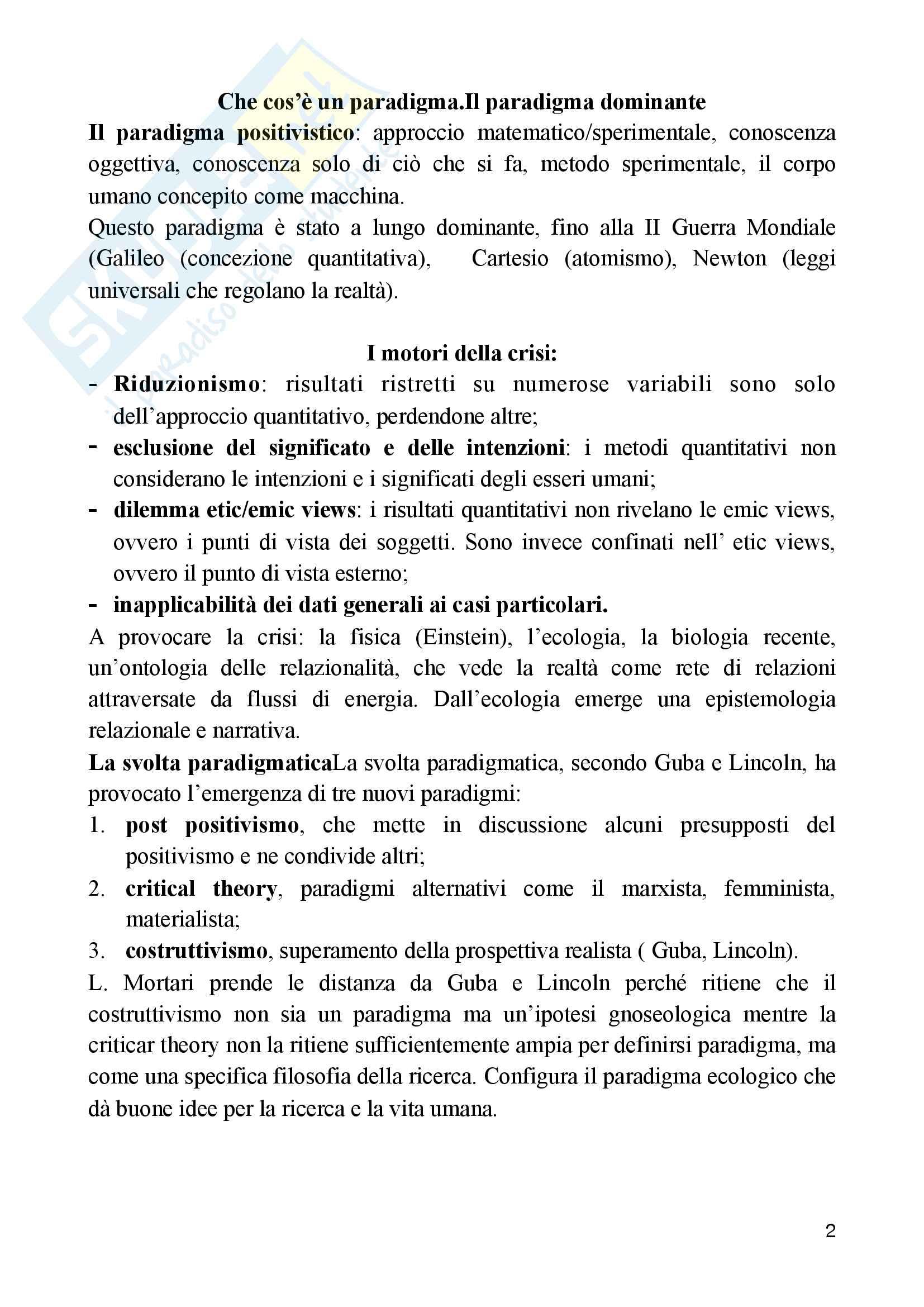 Riassunto esame epistemologia della ricerca qualitativa, docente Mortari, libro consigliato La cultura della ricerca e pedagogia, Mortari Pag. 2