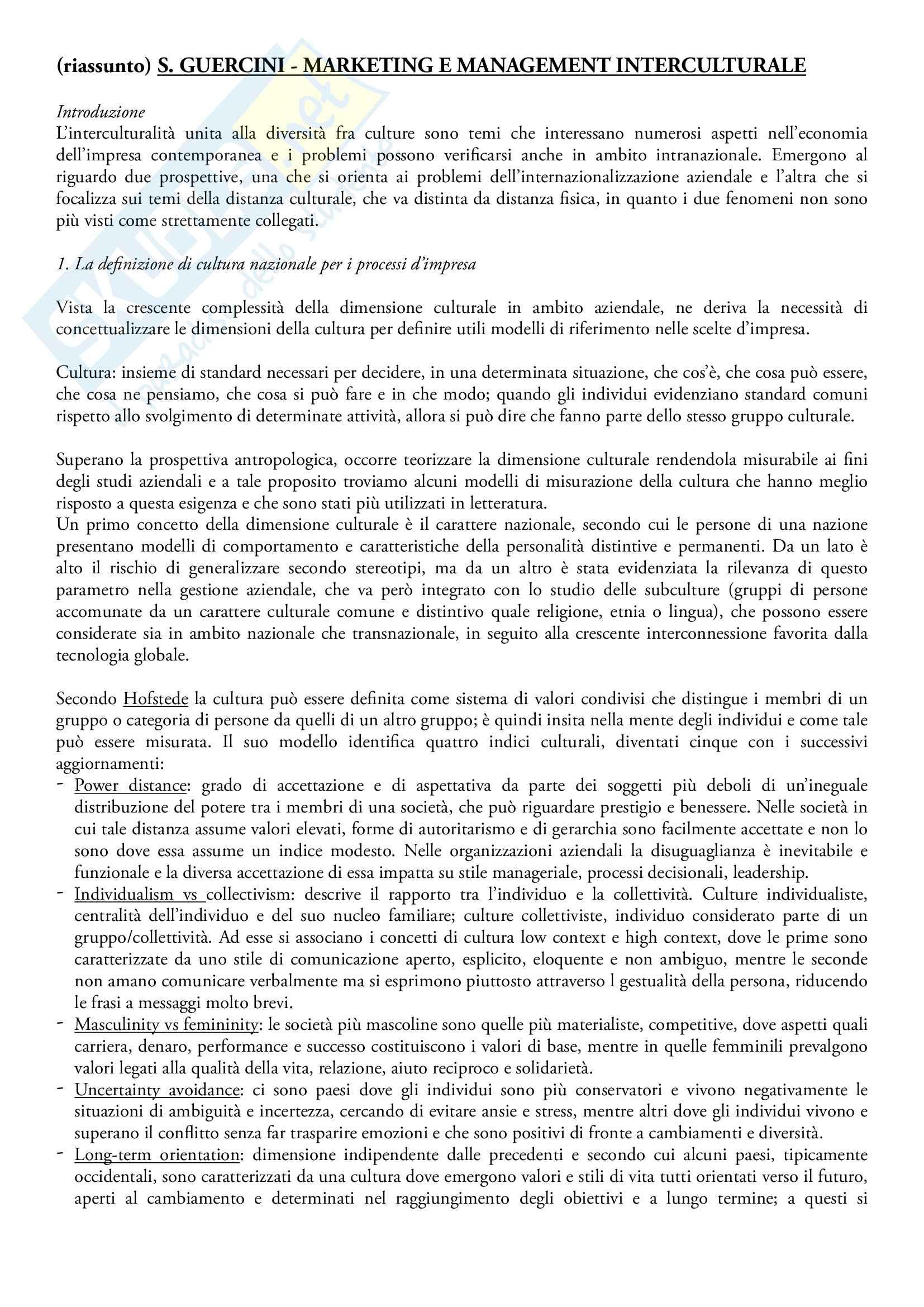 sunto Comunicazione internazionale, docente Linda Gabbianelli, libro consigliato Marketing e management interculturale, S. Guercini