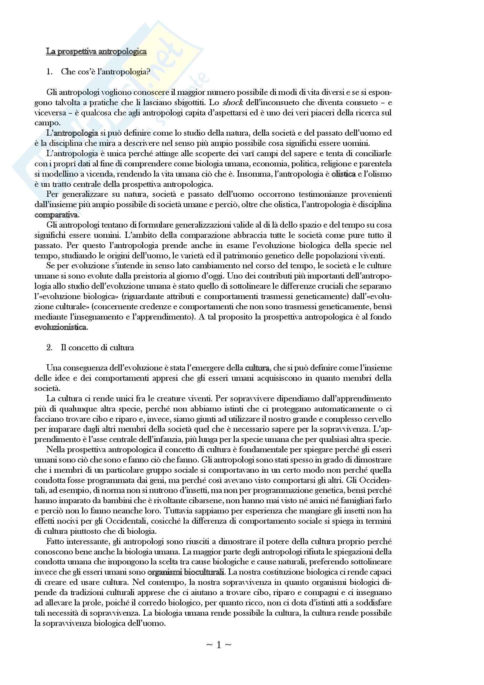 "Riassunto esame antropologia culturale, prof. Favole, libro consigliato ""Antropologia culturale"" di E.A. Schultz, R.H. Lavenda"