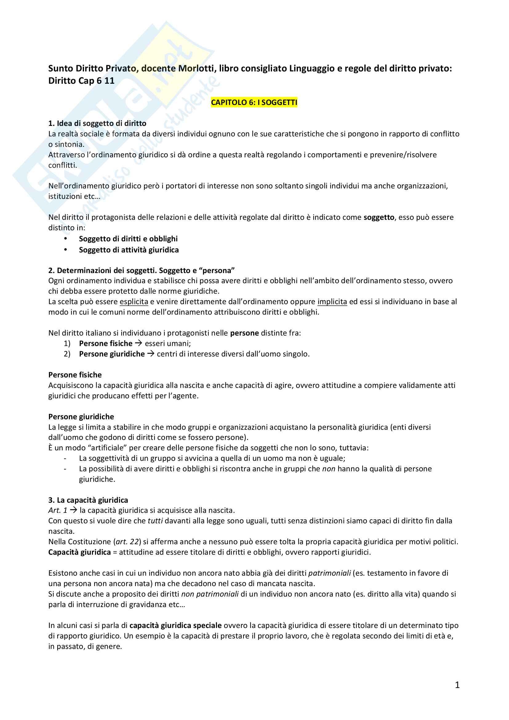 Riassunto esame Diritto Privato, docente Morlotti, libro consigliato Linguaggio e regole del diritto privato, Cap 6-11