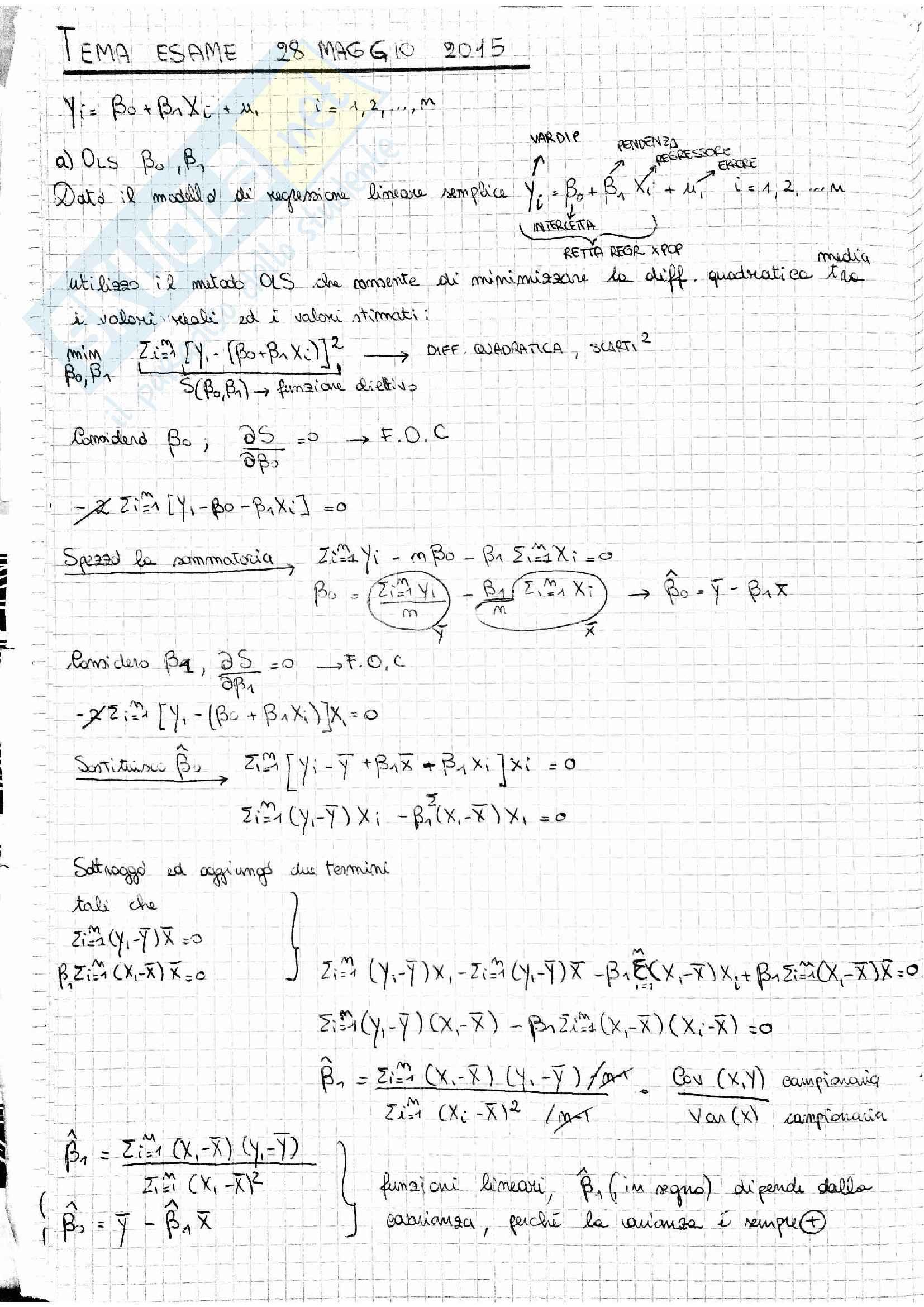 Temi esame Econometria