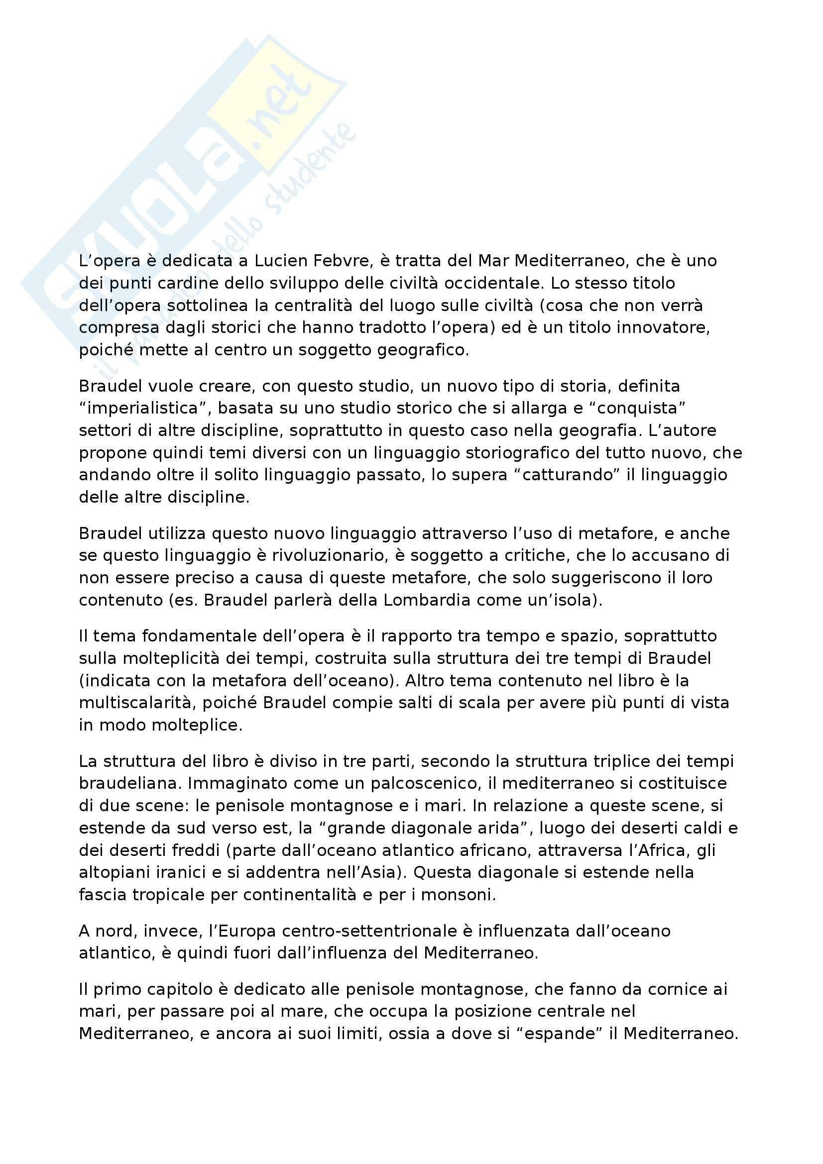 Riassunto esame Geografia Storica, prof. Pase, libro consigliato Civiltà ed Imperi del Mediterraneo nell'Età di Filippo II, Braudel