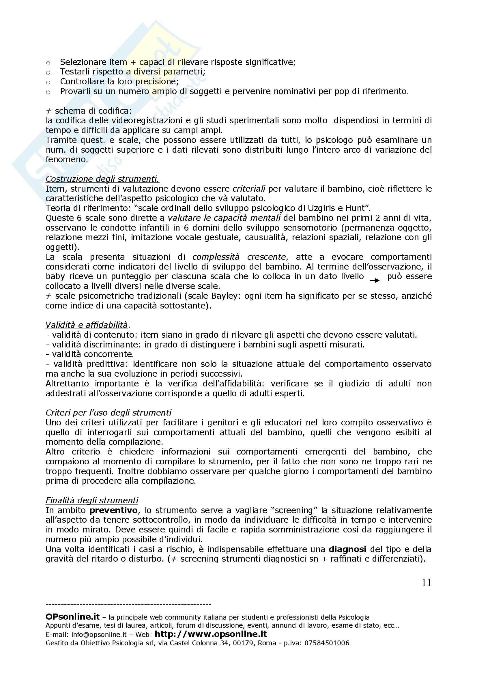 Psicologia dello sviluppo – Osservazione Pag. 11