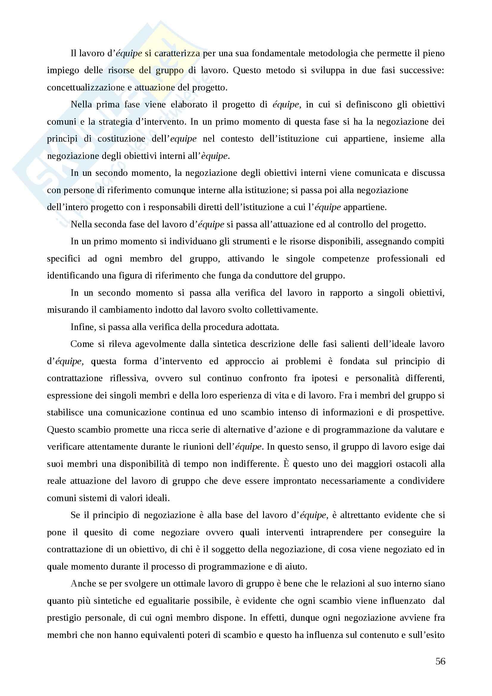 """Riassunto esame  Principi, fondamenti e organizzazione del servizio sociale, prof. Marsella, libro consigliato  """"Manuale dell'operatore sociale"""" Pag. 56"""