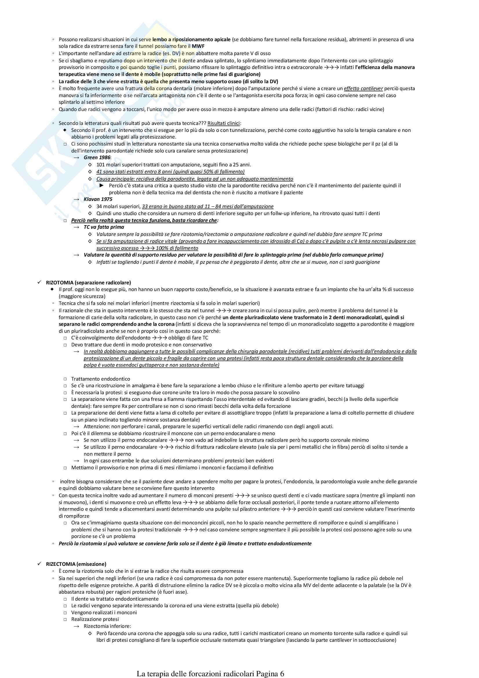 La terapia delle forcazioni radicolari Pag. 6