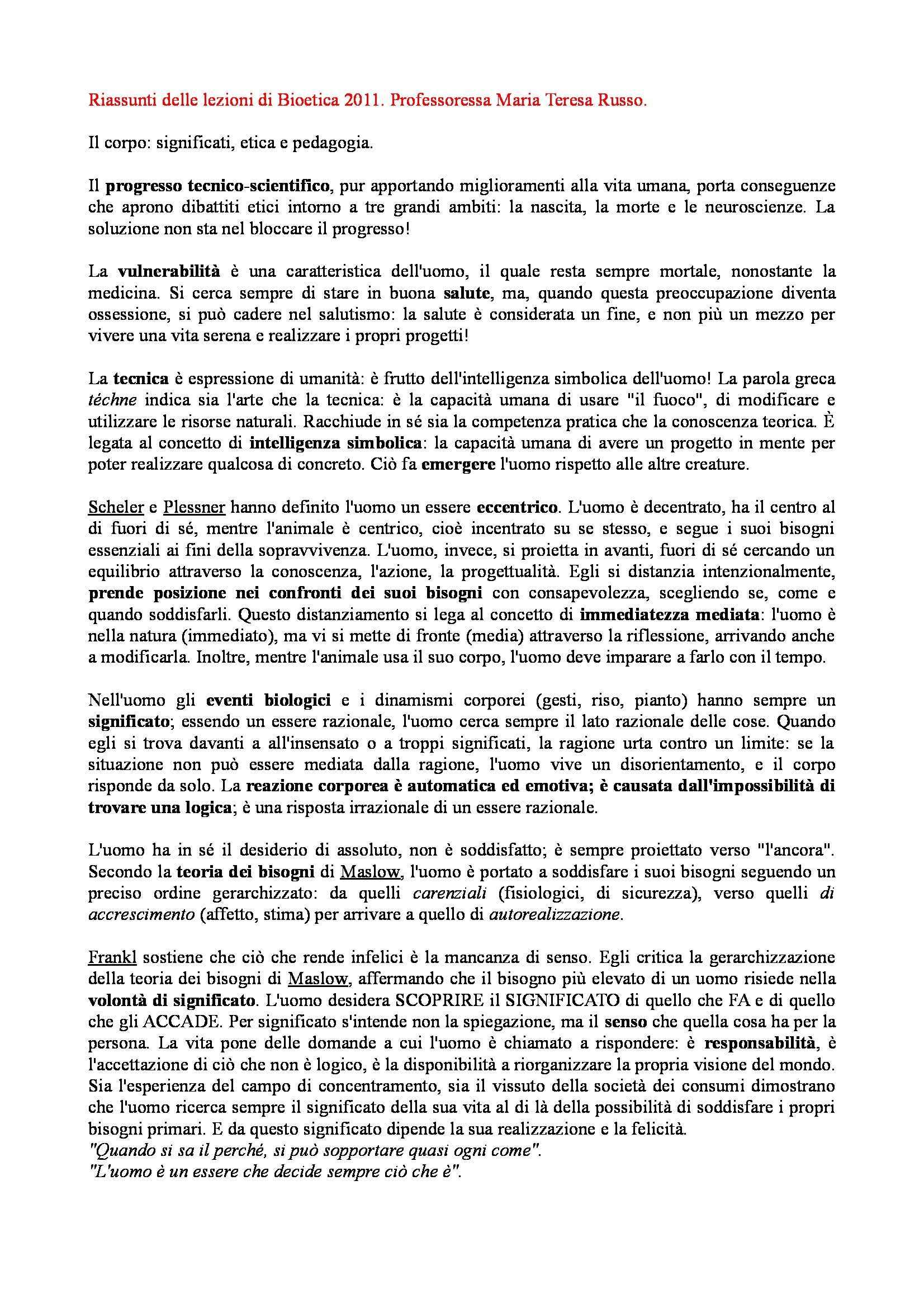 Riassunto esame Bioetica, prof. Russo, libro consigliato Etica del corpo tra medicina ed estetica