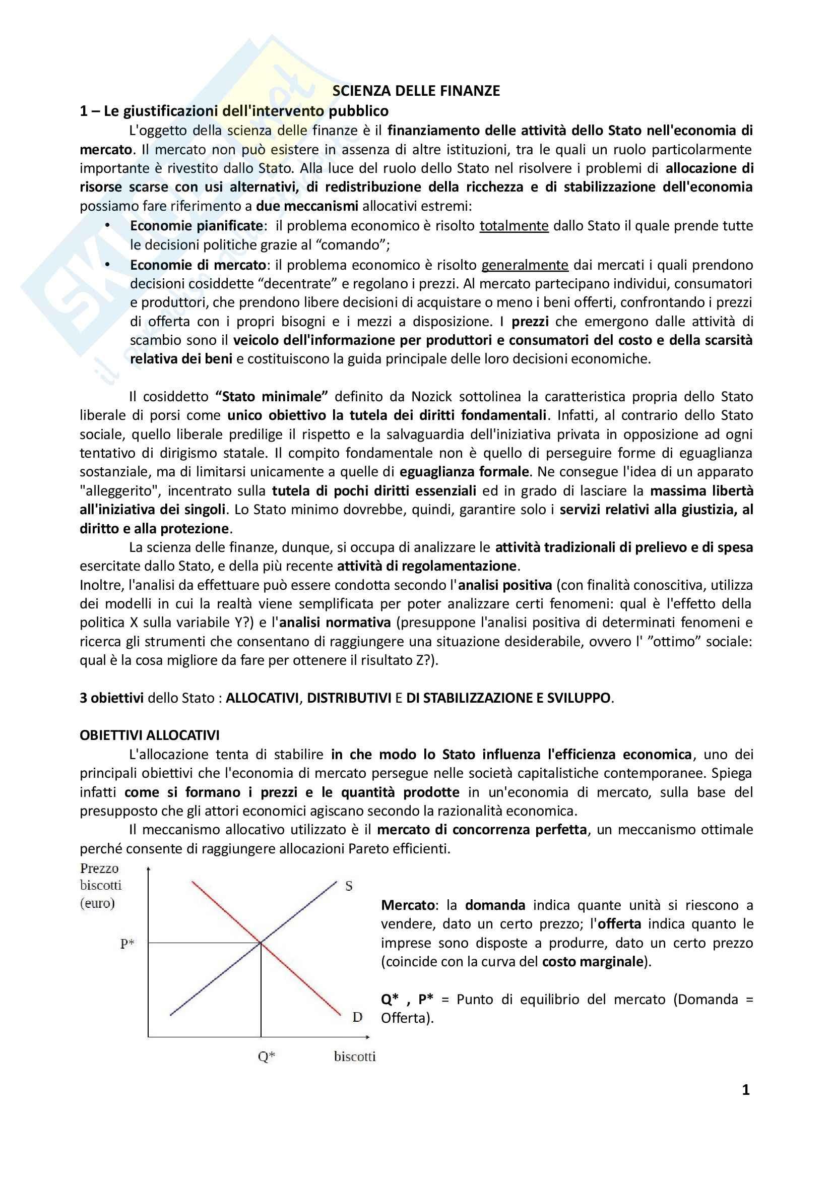 Riassunto esame Scienza delle Finanze, prof. Ferraresi