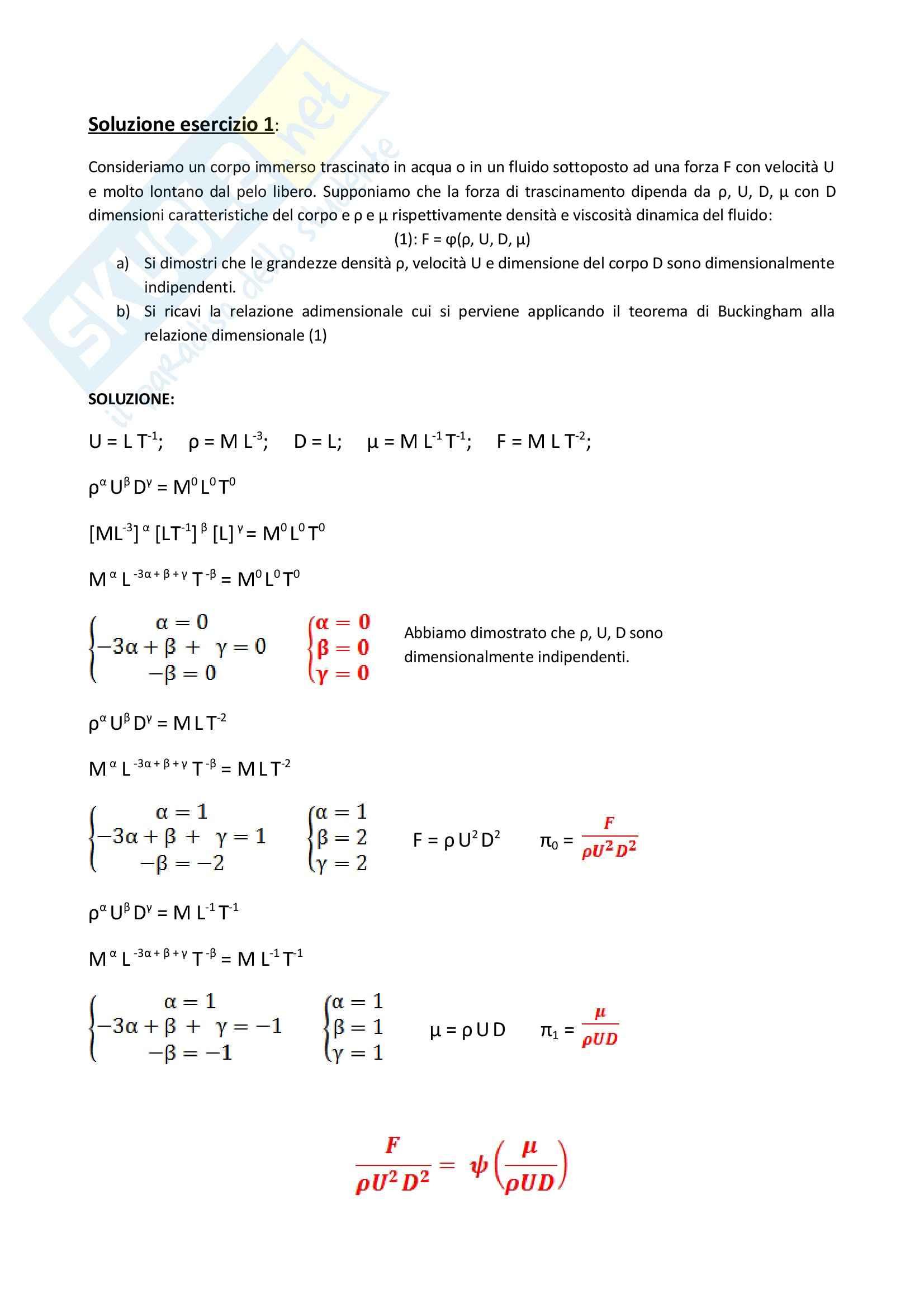 Idraulica 1 - esercizio sul Teorema di Buckingham