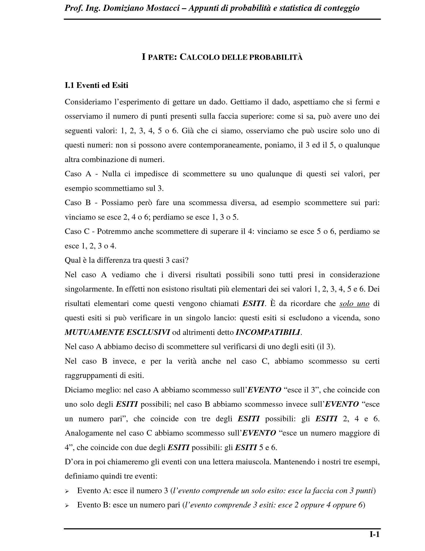 Statistica di conteggio - Calcolo delle probabilità