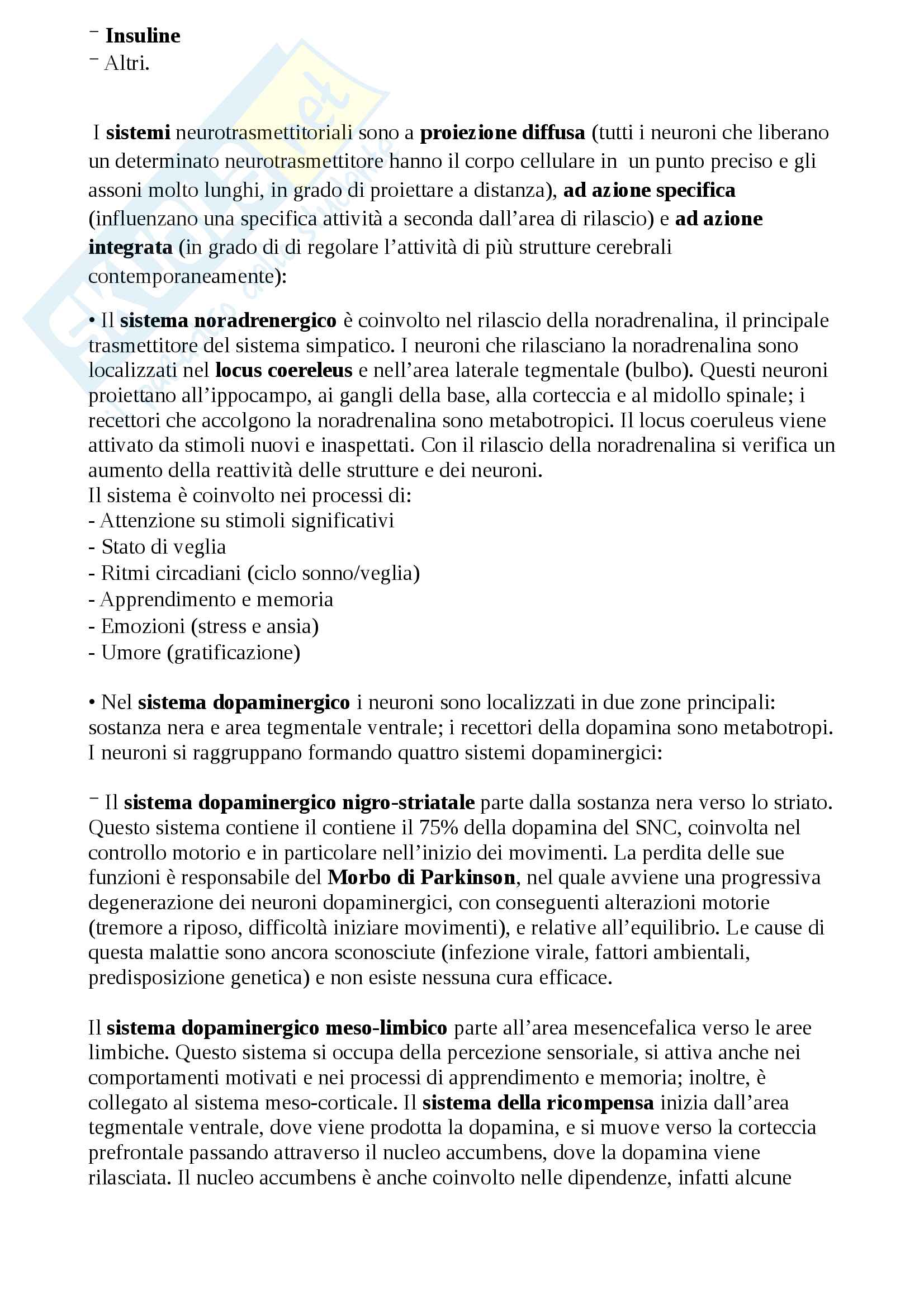 Appunti di neuroscienze utilissimi per studiare e per superare l'esame! Pag. 16