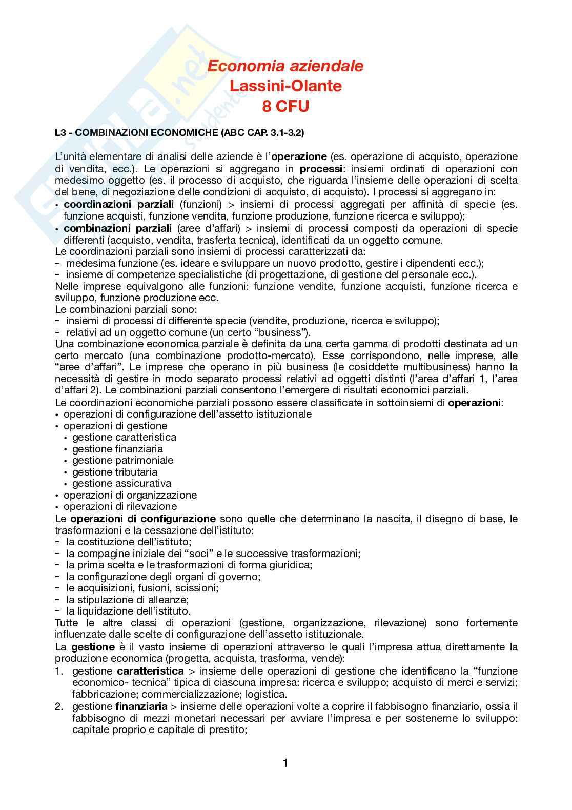 Appunti - Economia aziendale corso base, Lassini e Olante