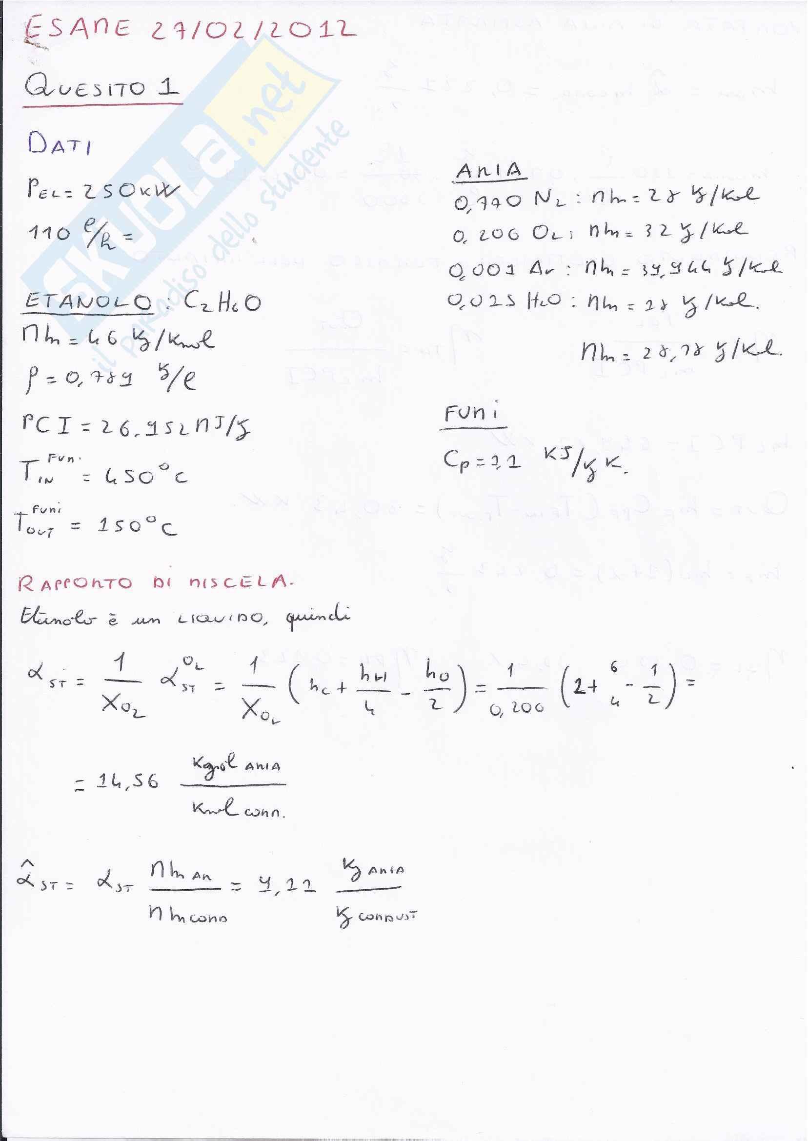 Sistemi energetici  - esame svolto fine settembre 2012