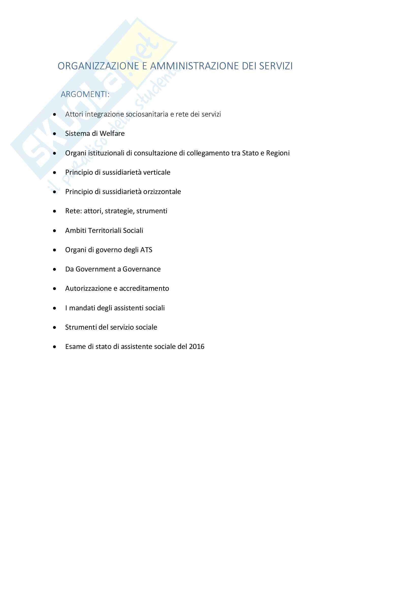 Appunti Organizzazione e amministrazione dei servizi