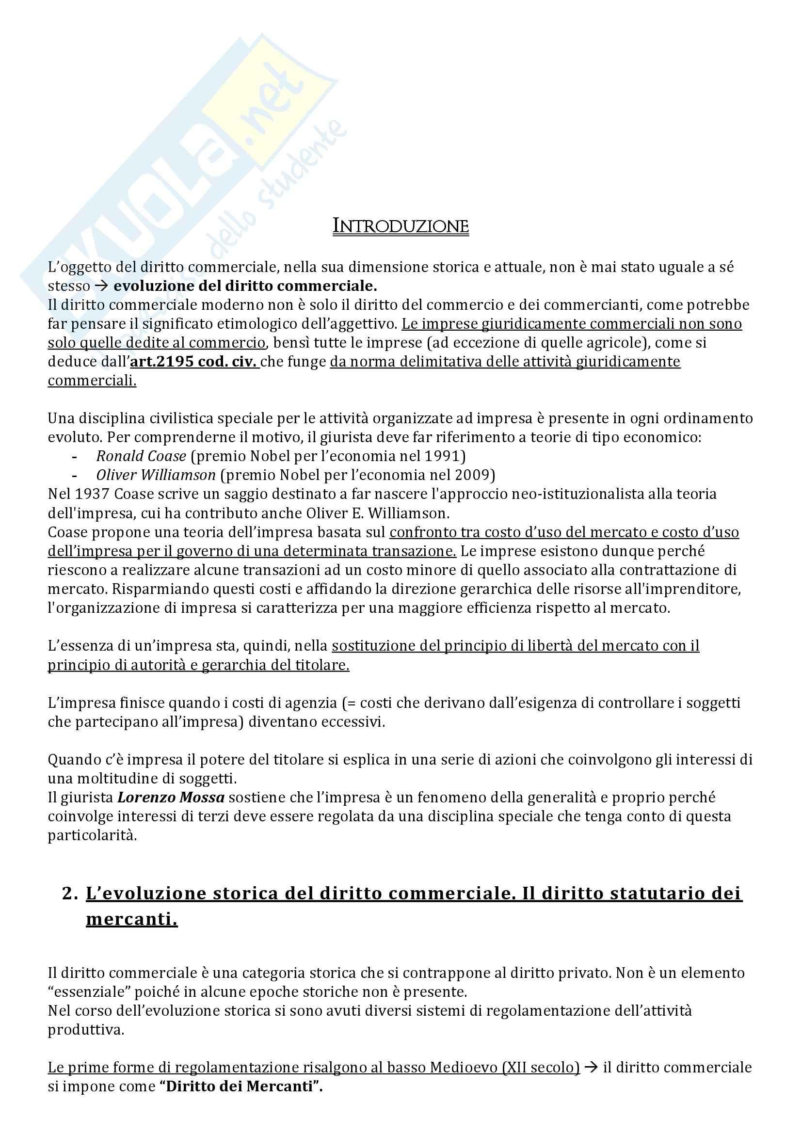 Riassunto esame Diritto Commerciale, prof. Pinto, libro consigliato Diritto Commerciale: Diritto dell'Impresa di Campobasso