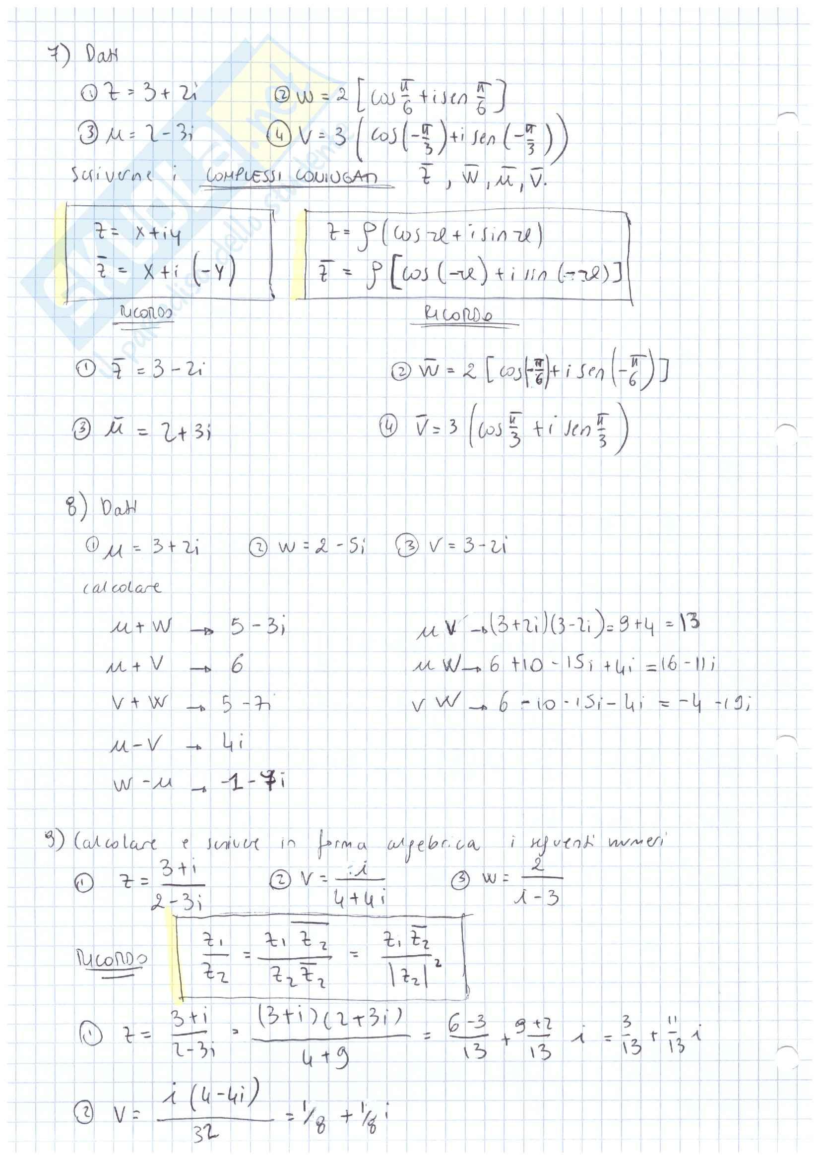 Esercizi numeri complessi, Analisi matematica I Pag. 6