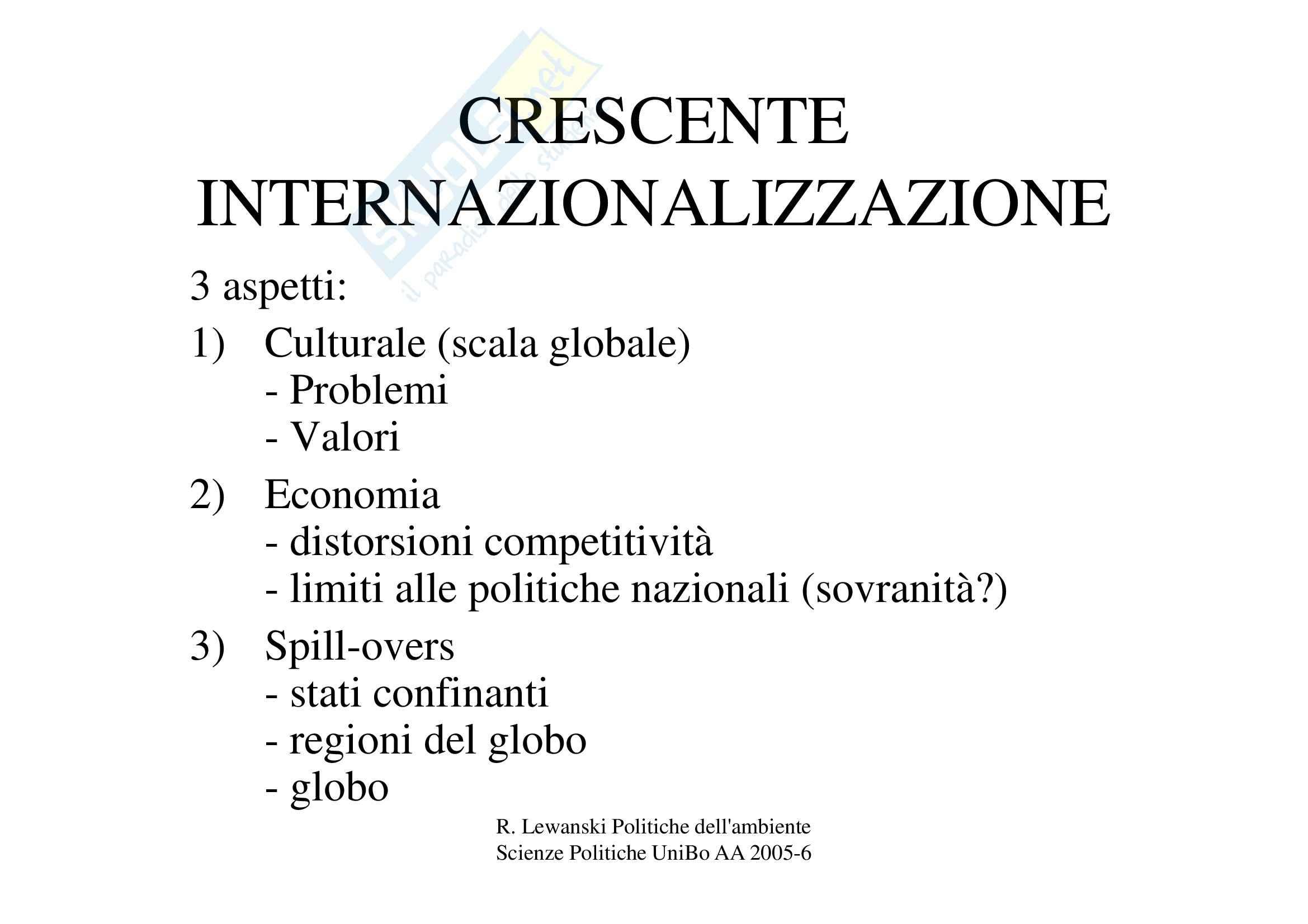 Dimensione internazionale della politica ambientale Pag. 2