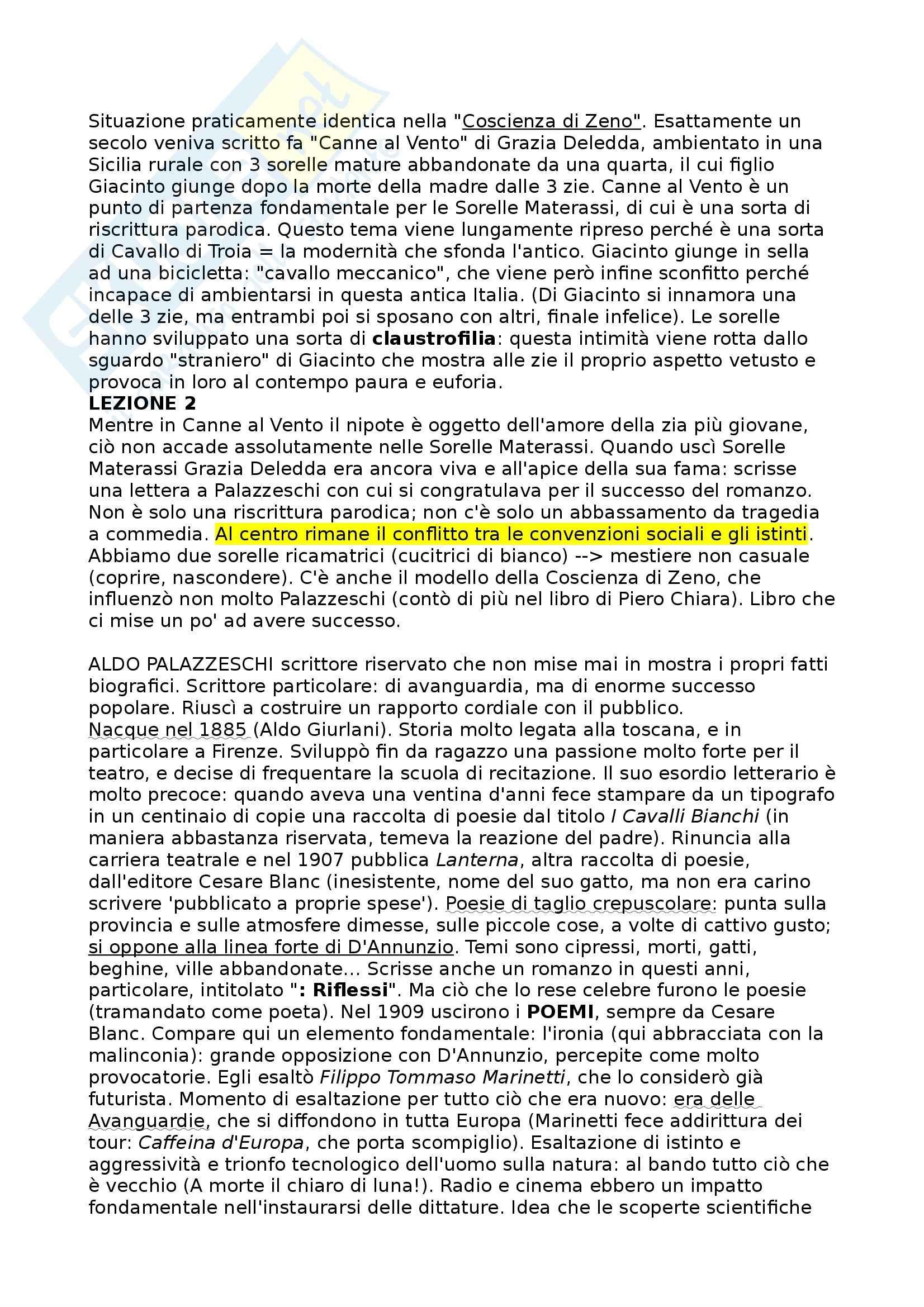 Sorelle Materassi, Palazzeschi - Riassunto commentato, prof. Novelli Pag. 2