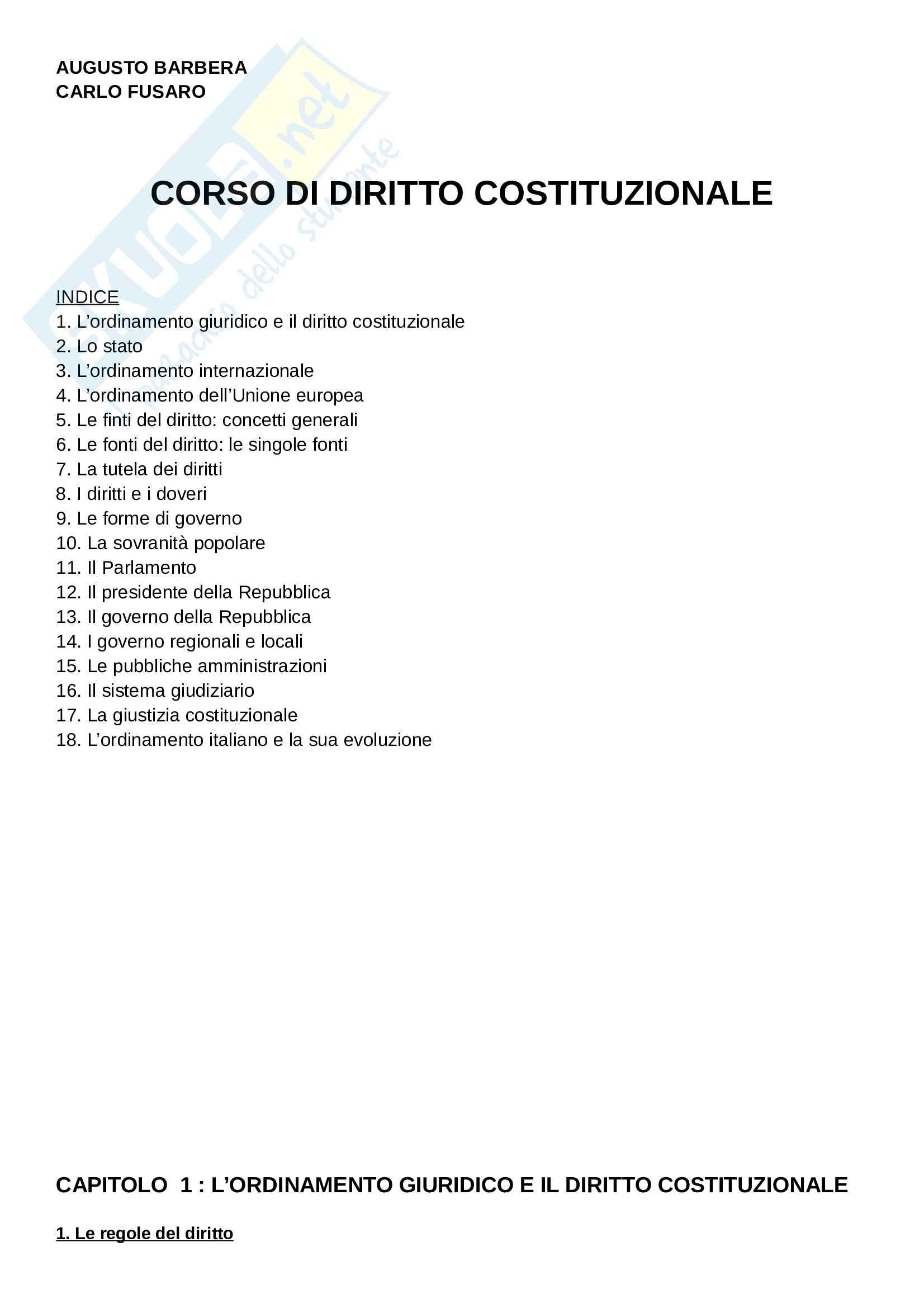 Riassunto esame Diritto Costituzionale, prof. Giupponi, libro consigliato Corso di Diritto Costituzionale di A.Barbera e C.Fusaro Pag. 1