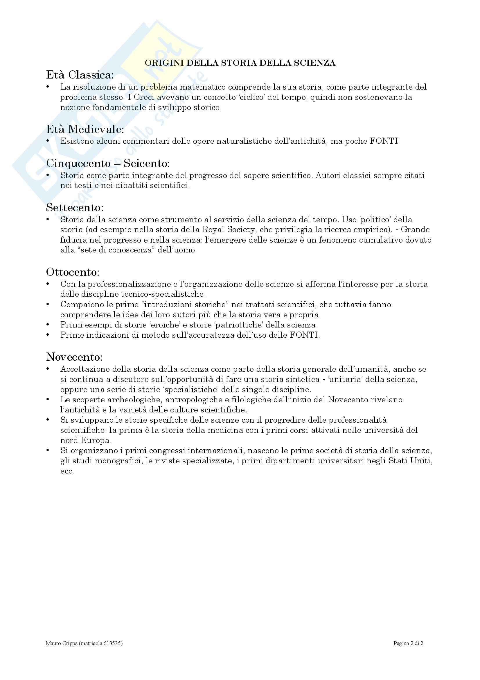 Storia della scienza e delle tecniche - introduzione alla storiografia della scienza - Kragh Pag. 2