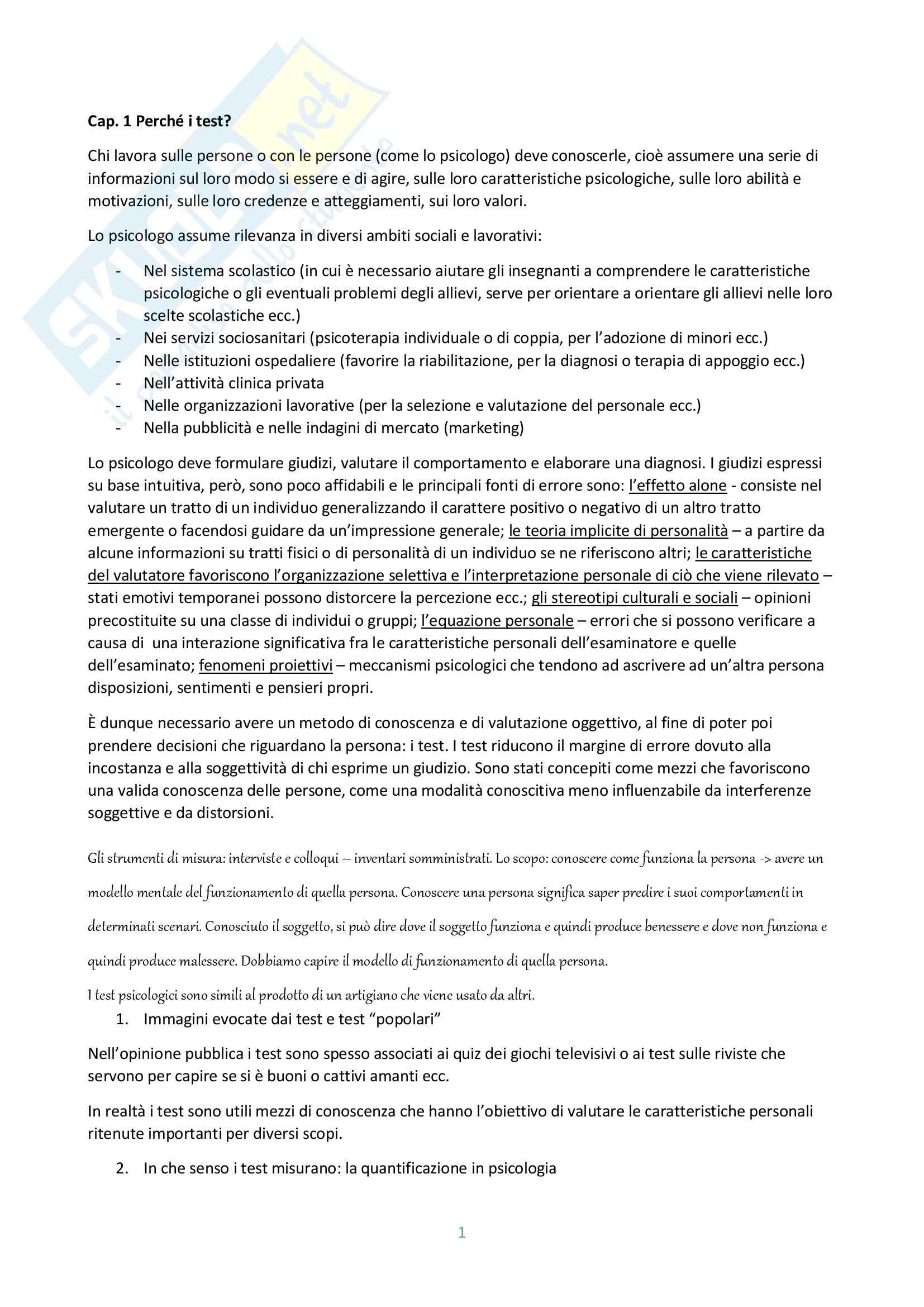 Riassunto esame Psicodiagnostica, prof. Pedone, libro consigliato I test psicologici, Pedrabissi, Santinello
