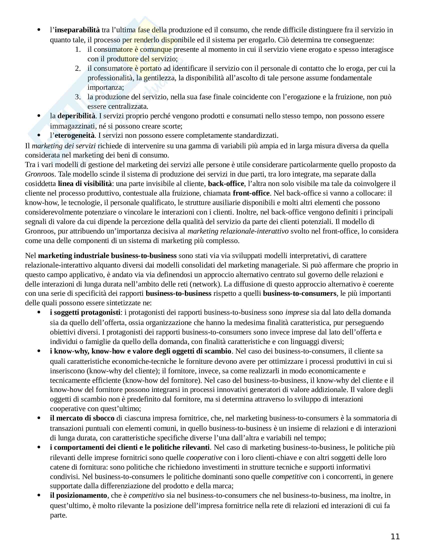 Riassunto esame Marketing, prof. Donvito, libro consigliato Marketing e creazione del valore, Ferrero Pag. 11