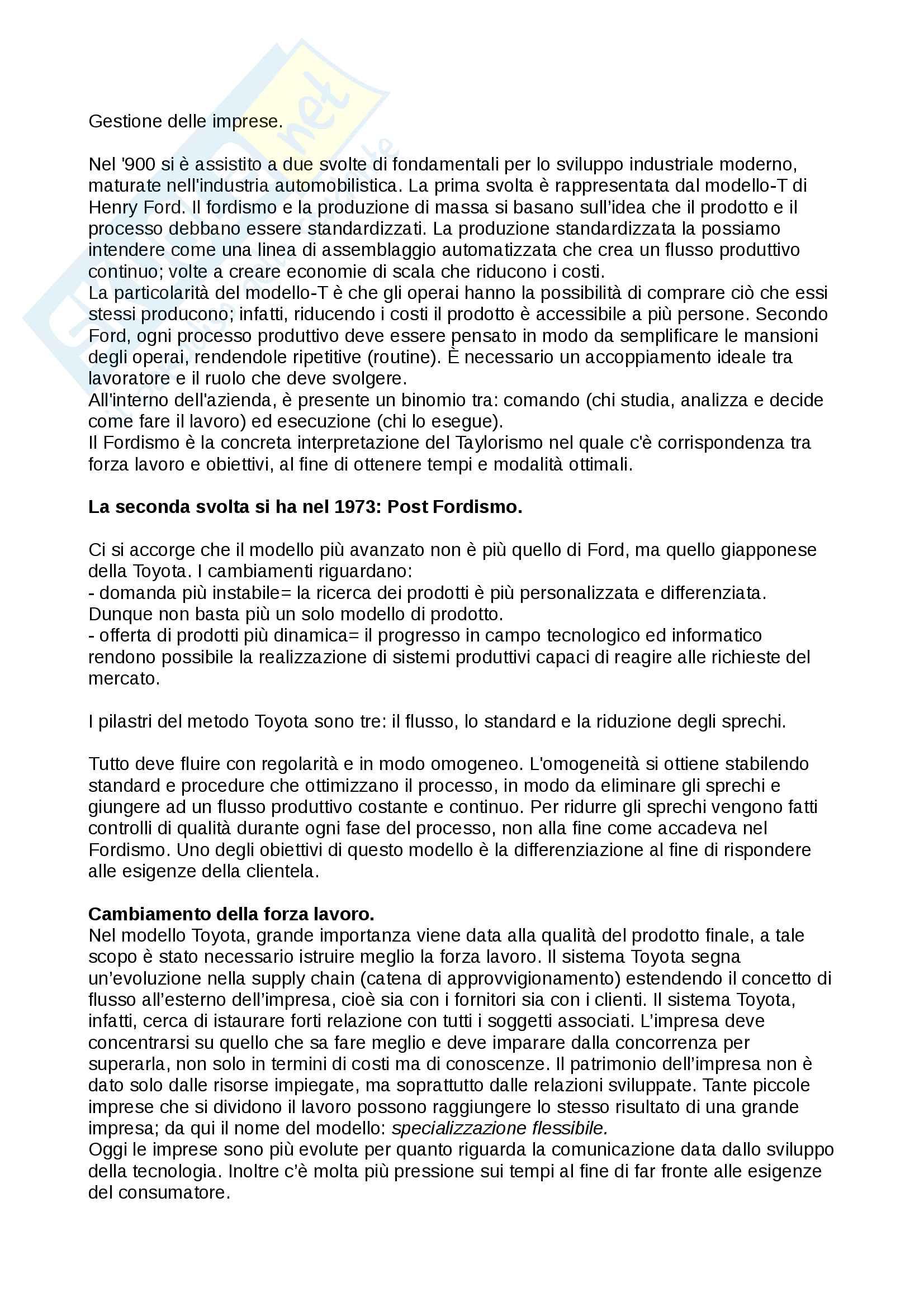 """Riassunto esame economia e gestione d'impresa (EGI), prof. Crespi, Serio e Baroncelli. Libri consigliati:""""Economia e gestione delle imprese"""" e """"Operations Management"""""""