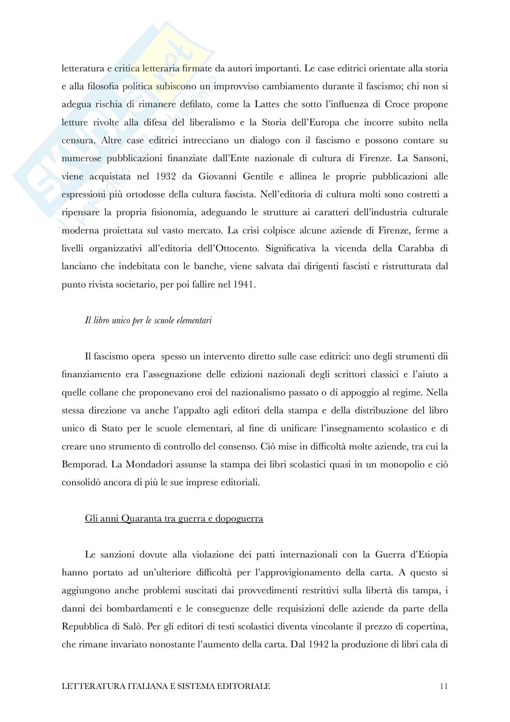 Riassunto esame Letteratura Italiana e Sistema Editoriale, Prof. Piazza, Libro consigliato Storia dell'Editoria Italiana di Cadioli Pag. 11