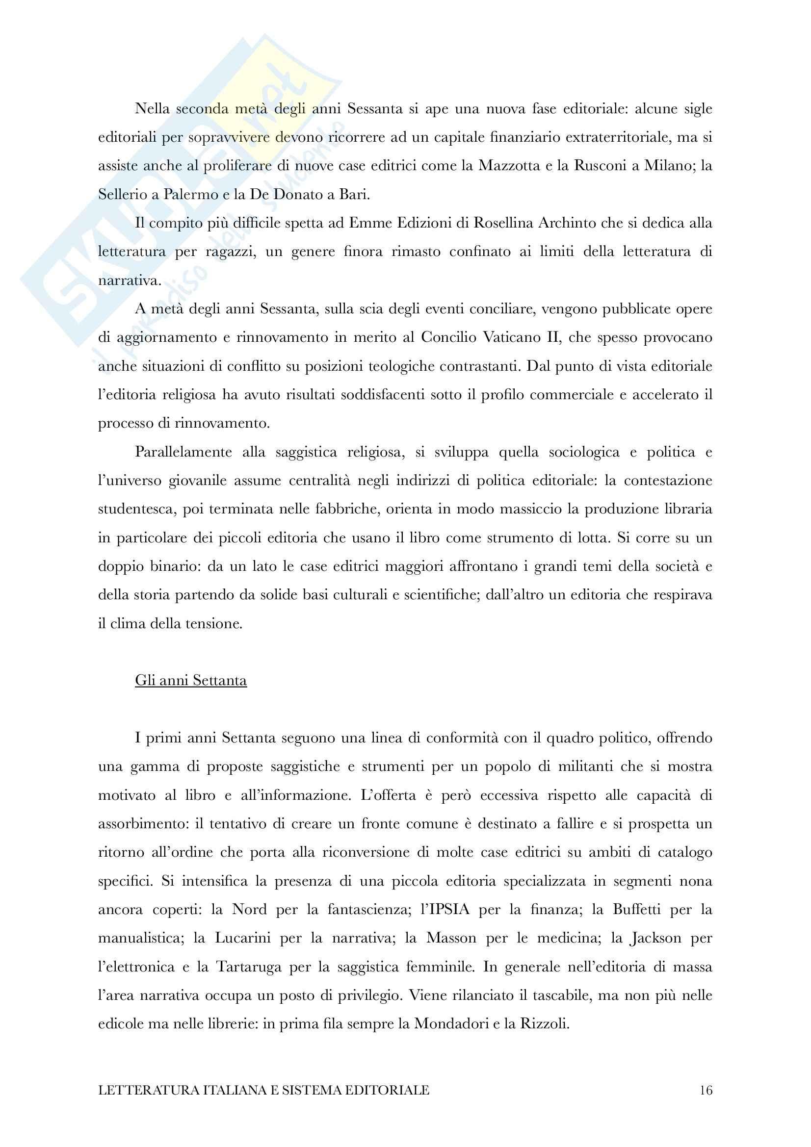 Riassunto esame Letteratura Italiana e Sistema Editoriale, Prof. Piazza, Libro consigliato Storia dell'Editoria Italiana di Cadioli Pag. 16