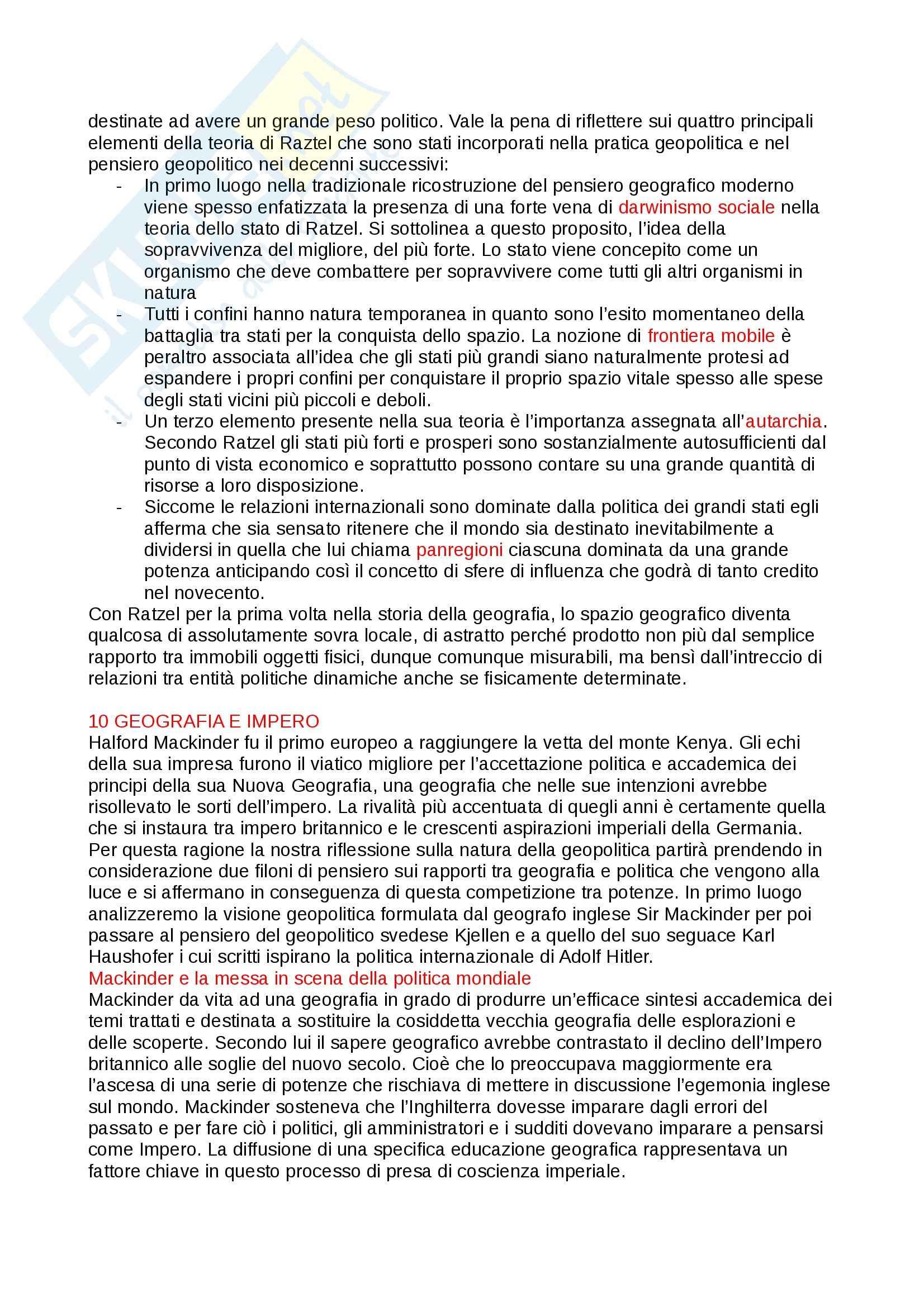 Riassunto esame Geografia Politica ed Economica, prof. Arca Marcella, libro consigliato Spazio e Politica Pag. 11