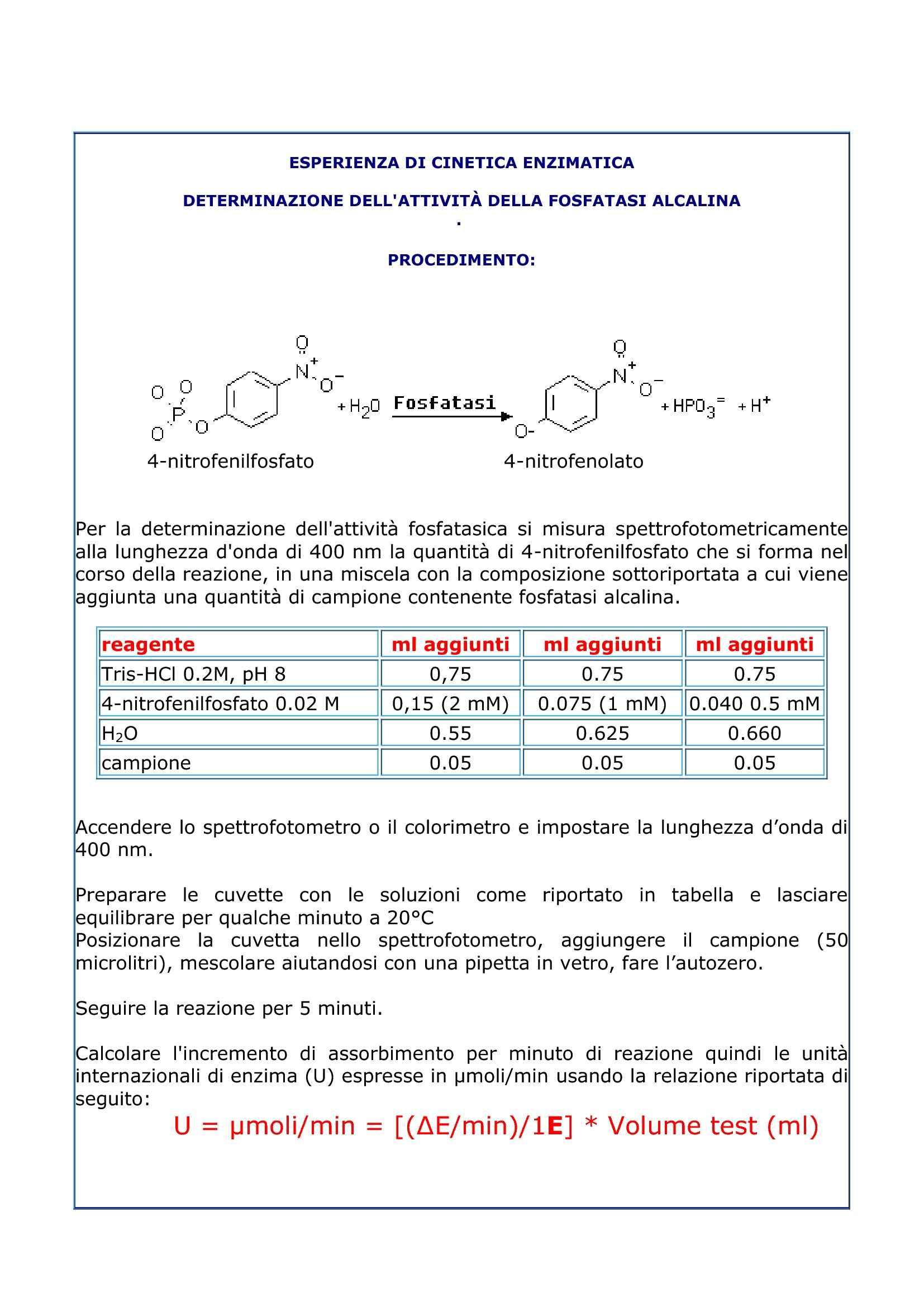 Determinazione attività enzimatica