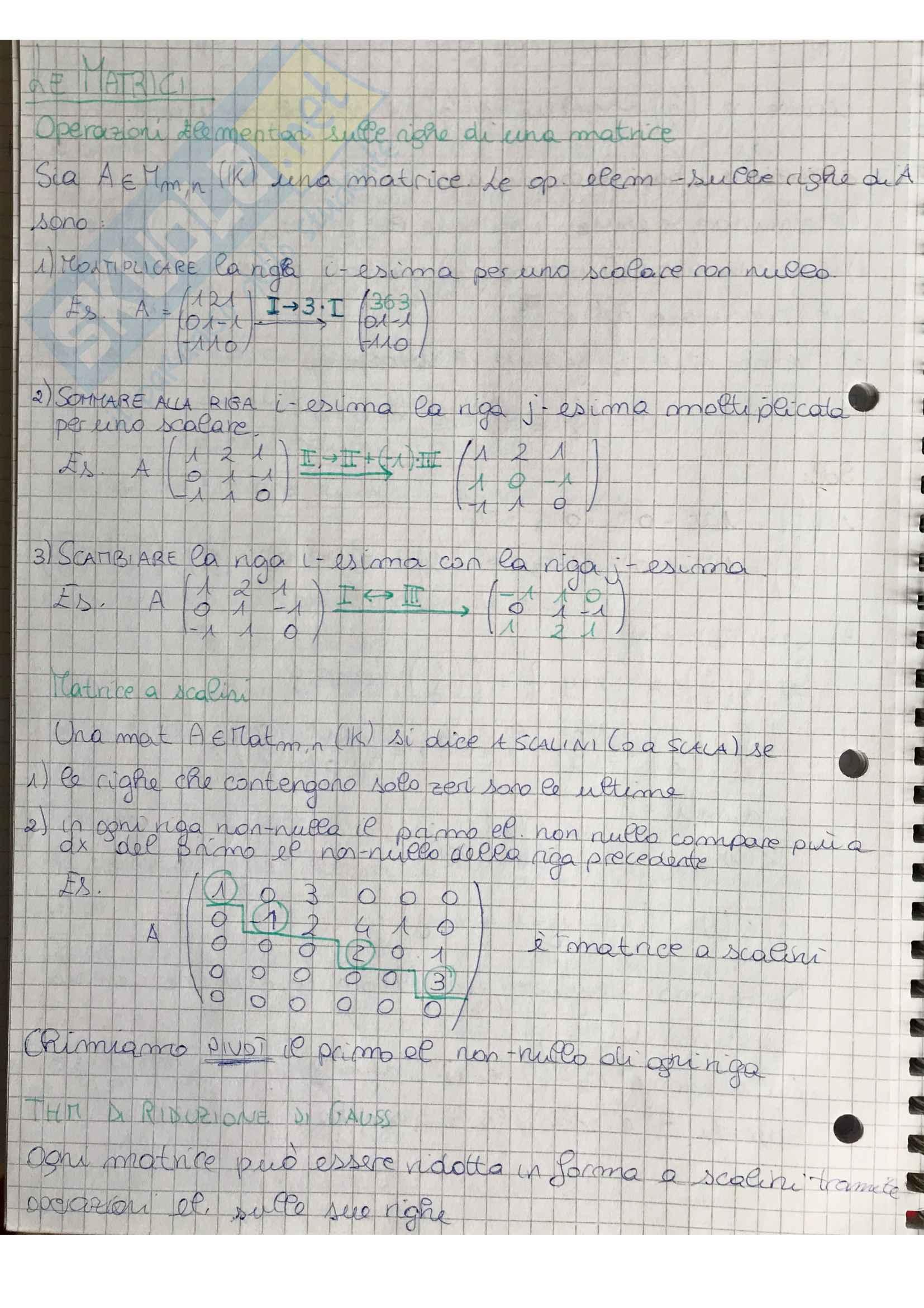 Matrici e loro proprietà. Sistemi lineari. Esempi di esercizi