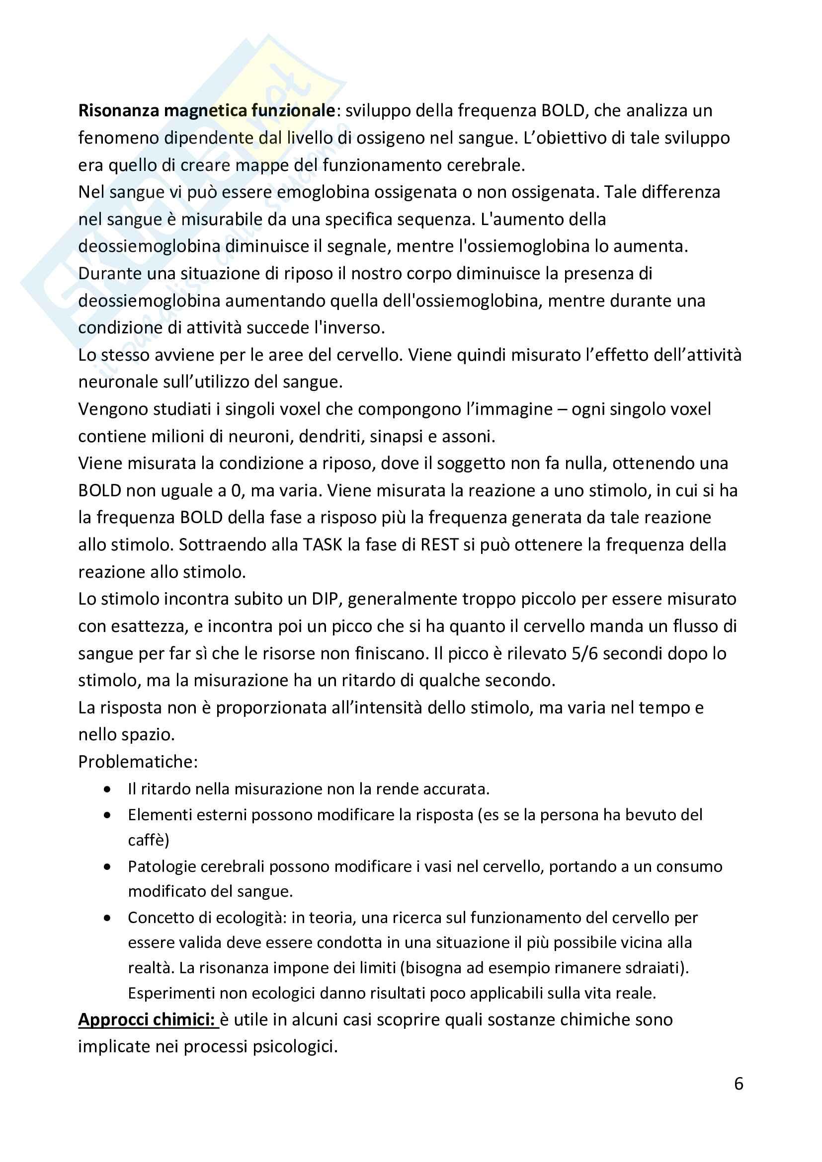 Riassunto esame psicologia fisiologica, prof Cauda, libro Psicologia Fisiologica, Wagner, Silber Pag. 6