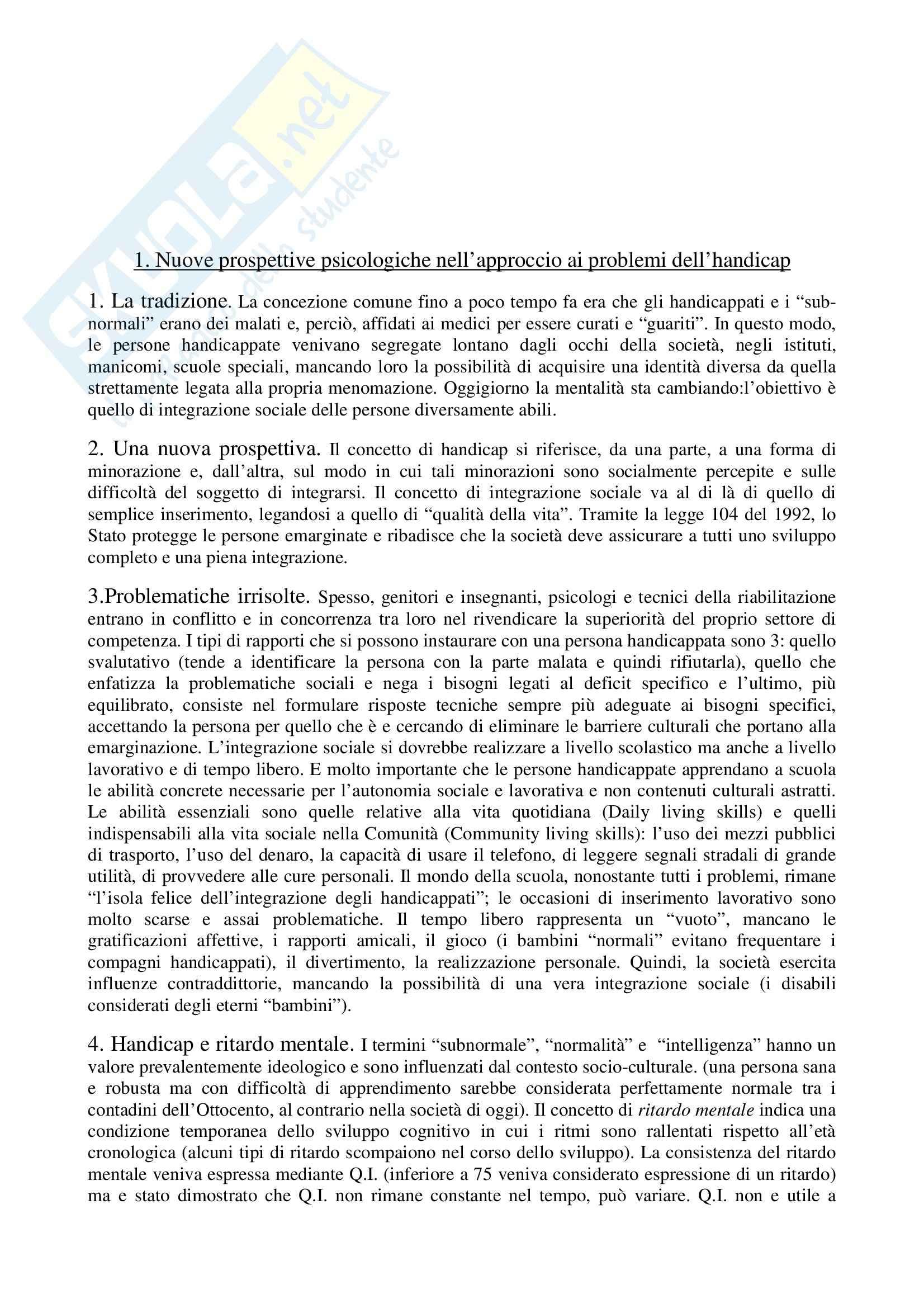 Riassunto esame Pedagogia speciale per l'infanzia, prof. Biagioli, libro consigliato Introduzione alla pedagogia speciale, Trisciuzzi, Fratini, Galanti