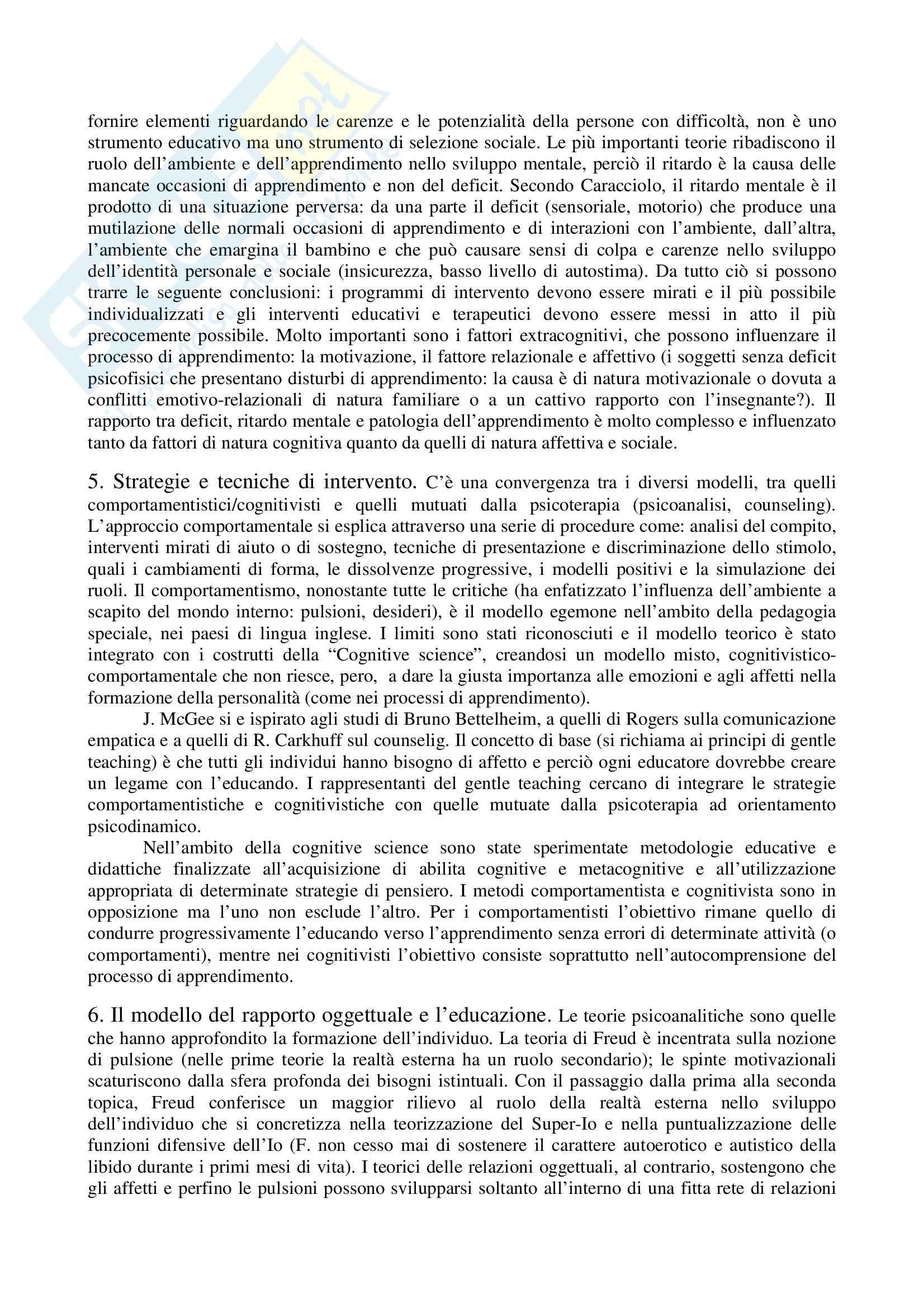 Riassunto esame Pedagogia speciale per l'infanzia, prof. Biagioli, libro consigliato Introduzione alla pedagogia speciale, Trisciuzzi, Fratini, Galanti Pag. 2