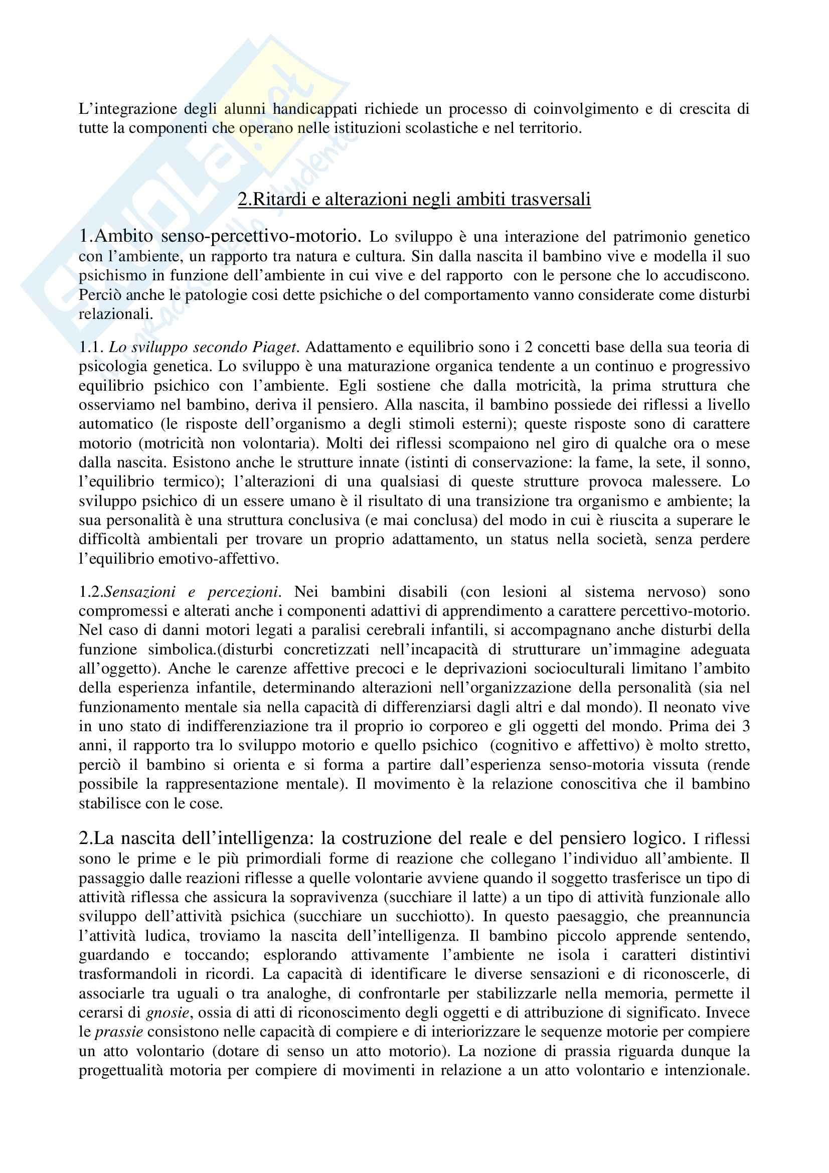 Riassunto esame Pedagogia speciale per l'infanzia, prof. Biagioli, libro consigliato Introduzione alla pedagogia speciale, Trisciuzzi, Fratini, Galanti Pag. 6