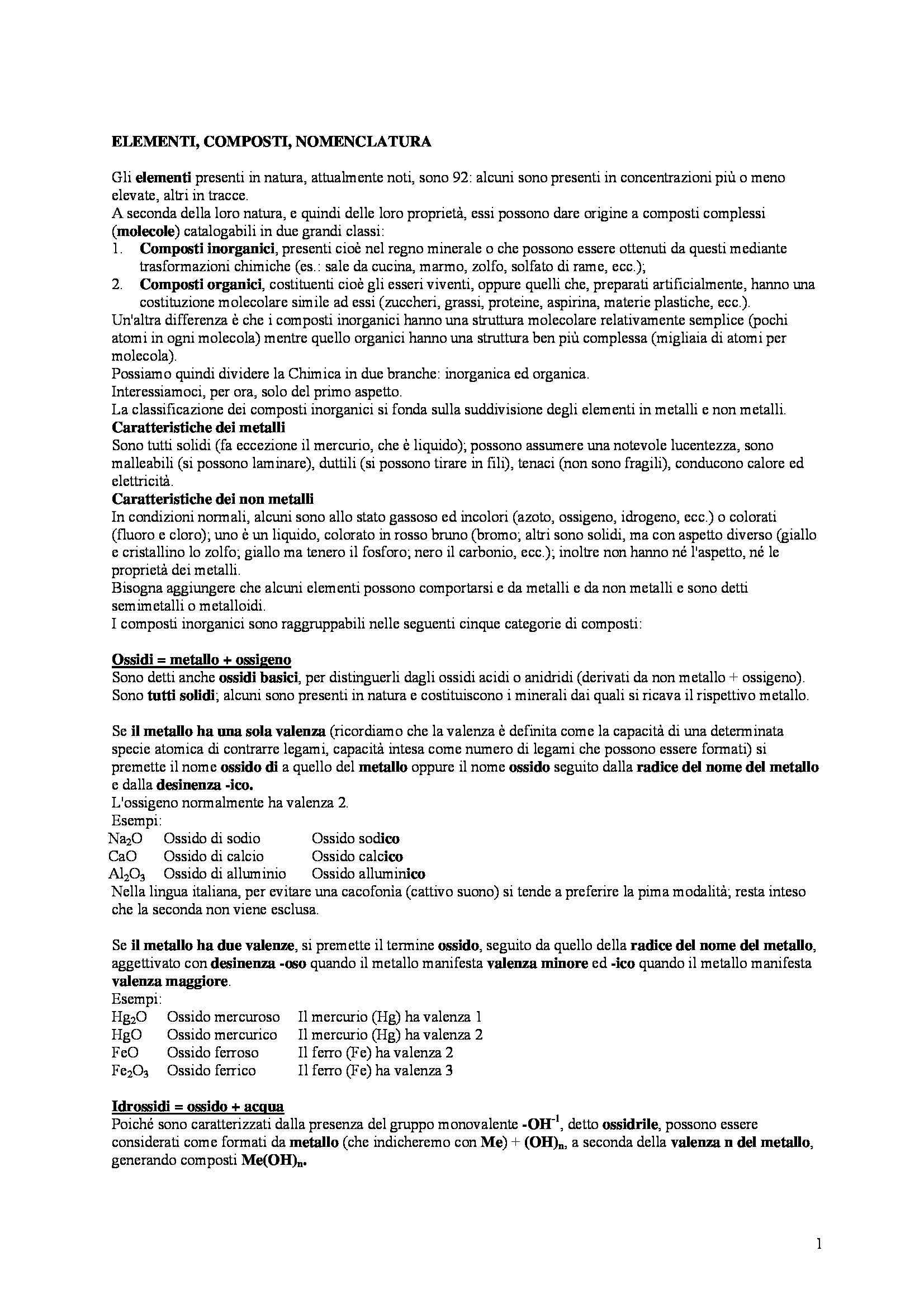 Chimica organica - Elementi, composti e nomenclatura
