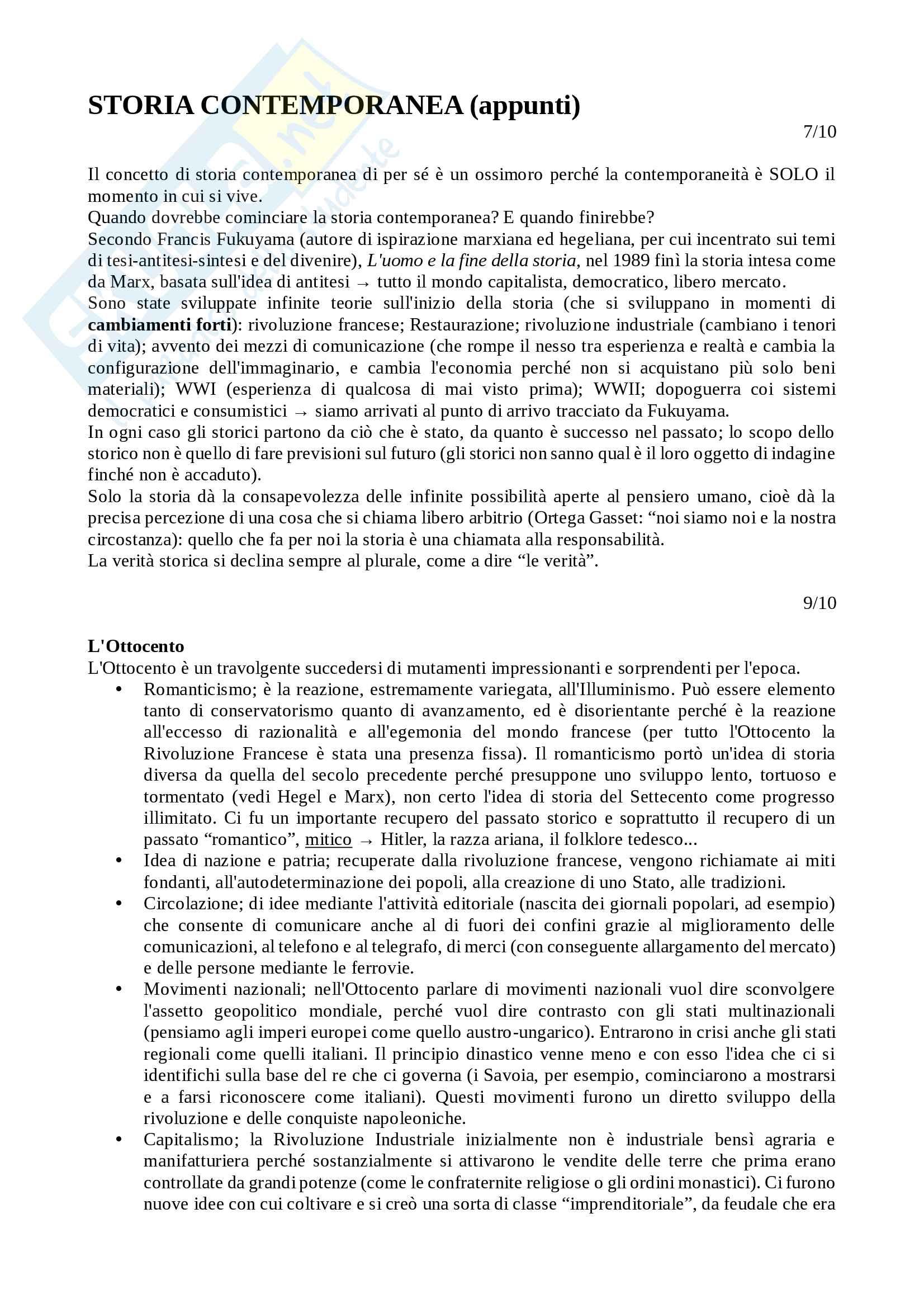 Storia Contemporanea - appunti prof. Paolo Colombo