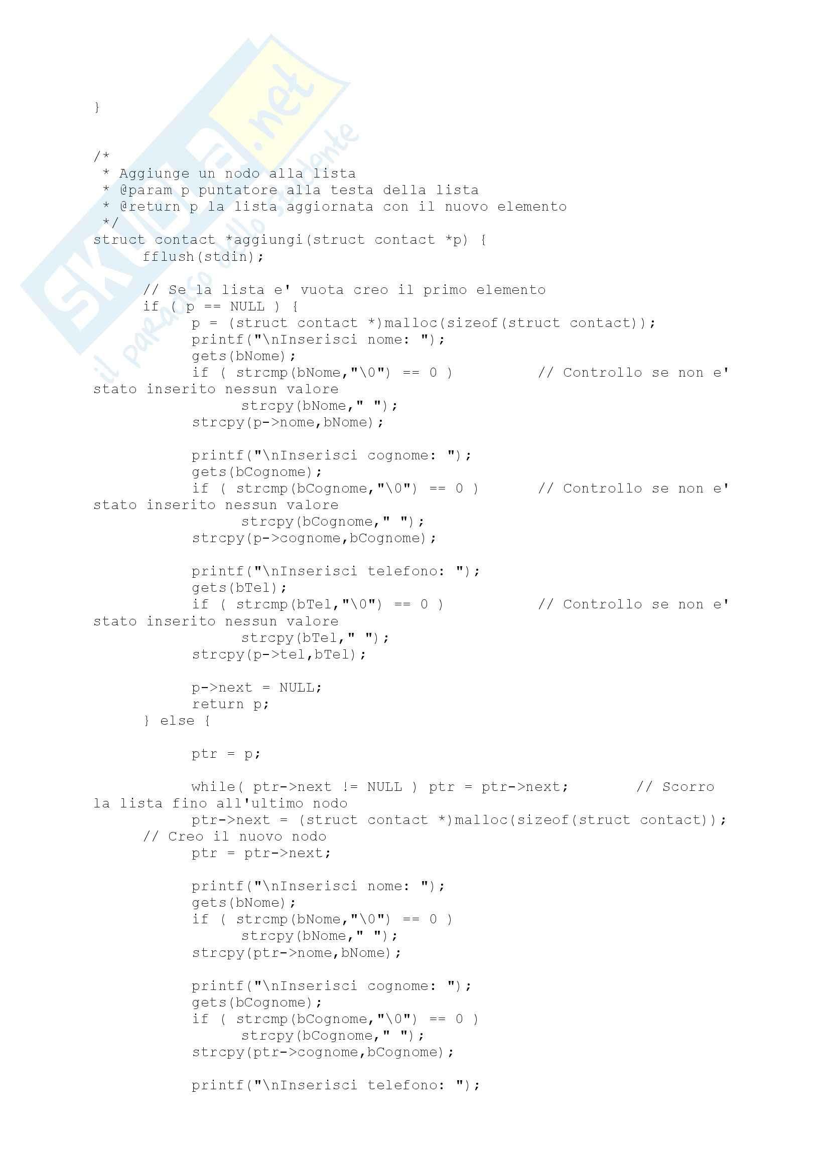 Programmazione C , Esercizio: Rubrica in C, Calcolatori Pag. 6
