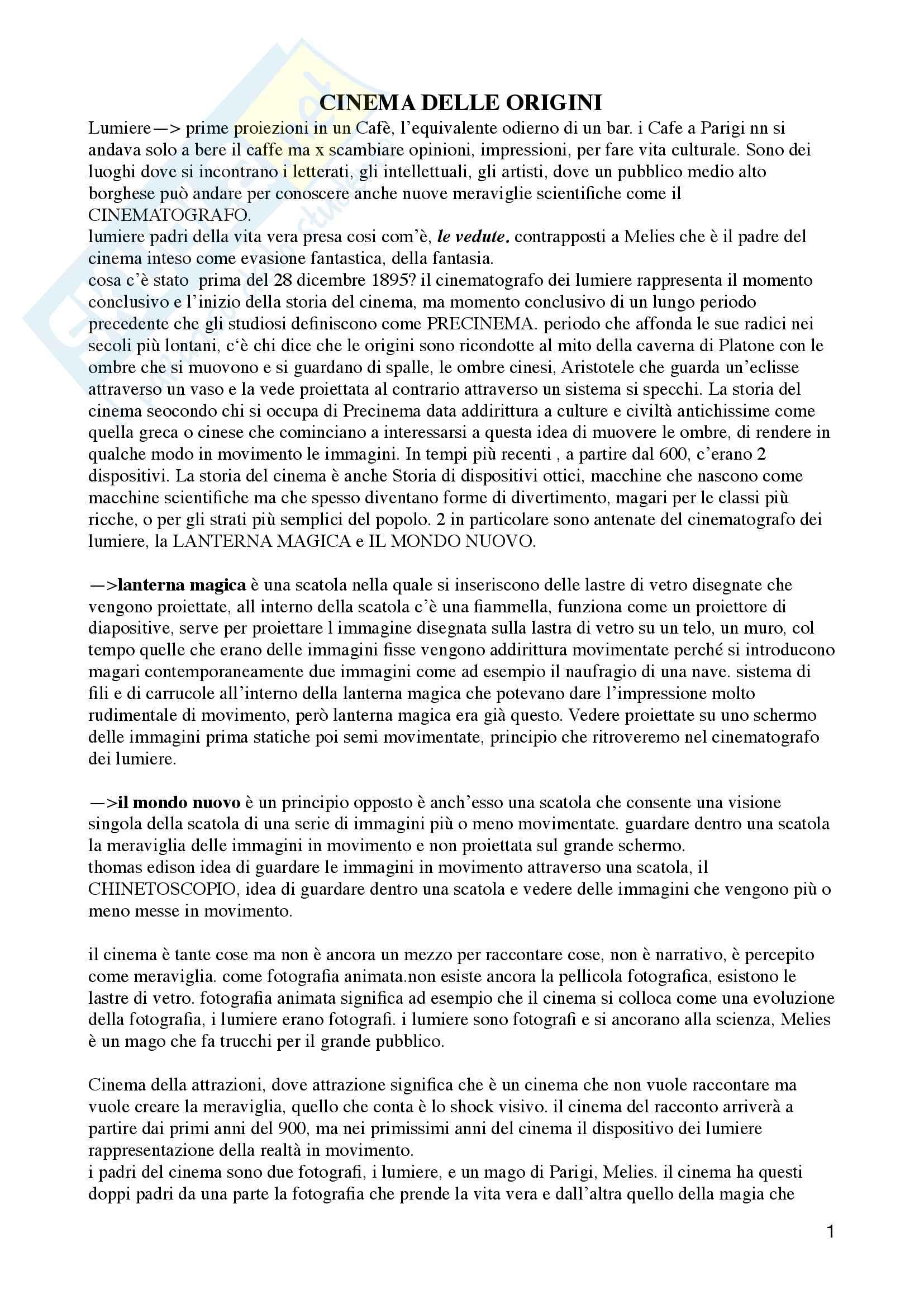 Riassunto esame Storia ed estetica del cinema, Prof. Moccagatta/Caccia, libro consigliato Storia del cinema, Thompson, Bordwell