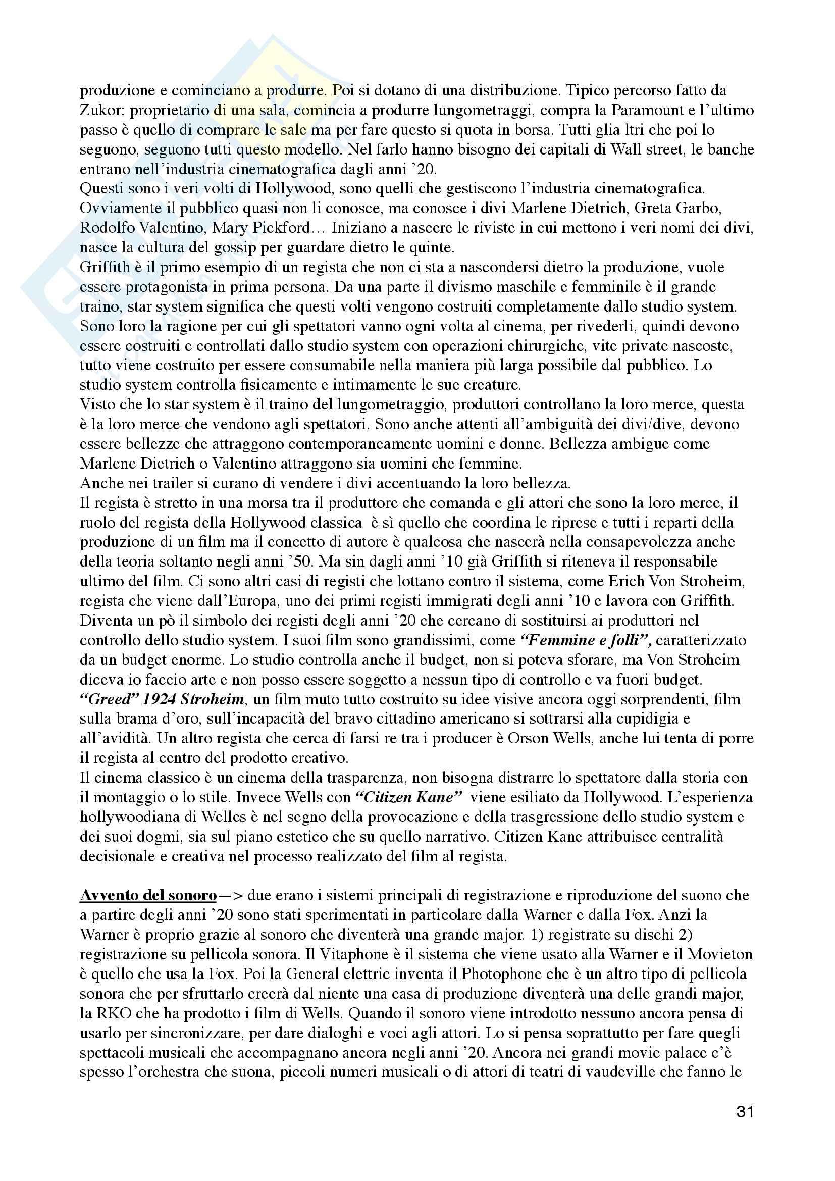 Riassunto esame Storia ed estetica del cinema, Prof. Moccagatta/Caccia, libro consigliato Storia del cinema, Thompson, Bordwell Pag. 31