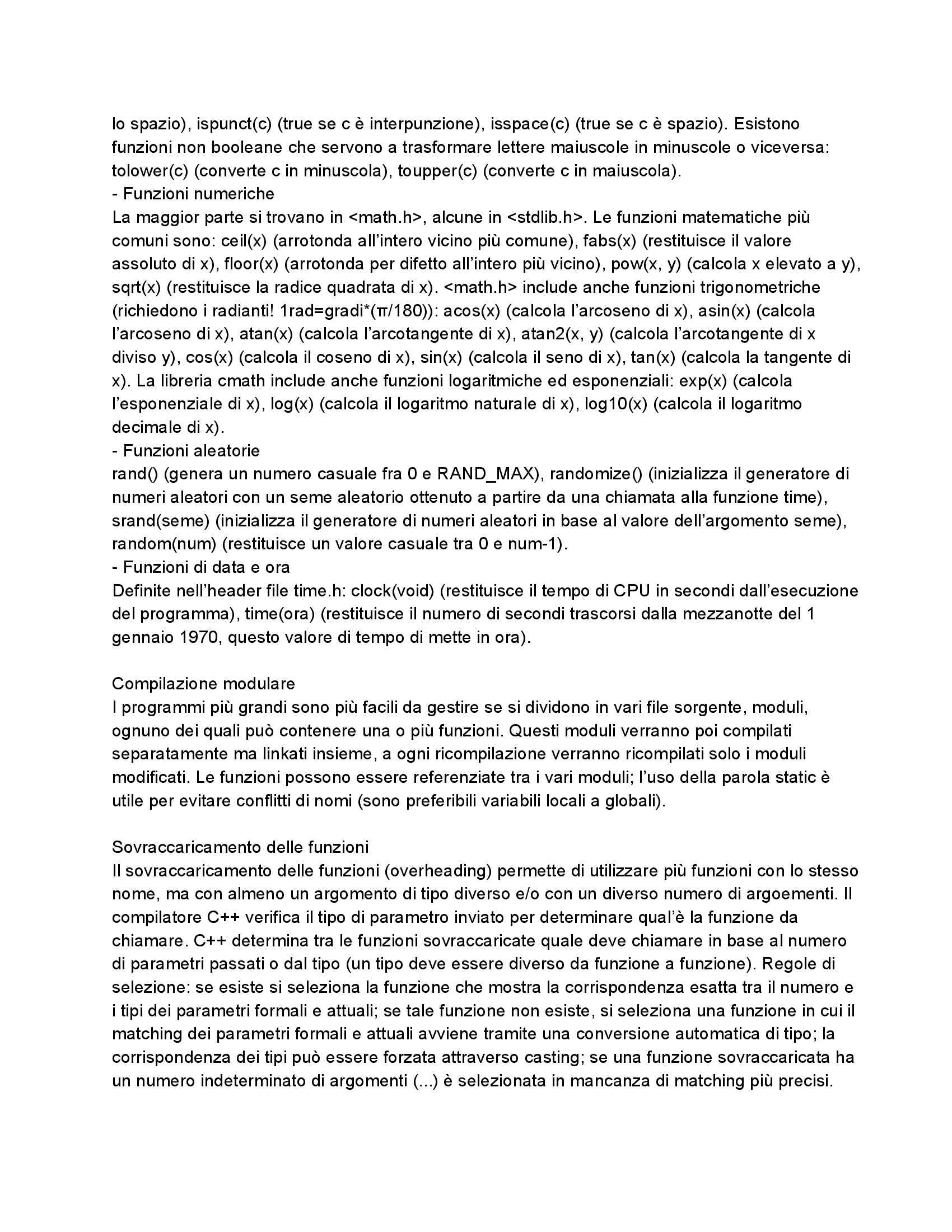 Riassunto esame Fondamenti di Informatica: Manuale di C/C++, prof. Dragoni Pag. 16