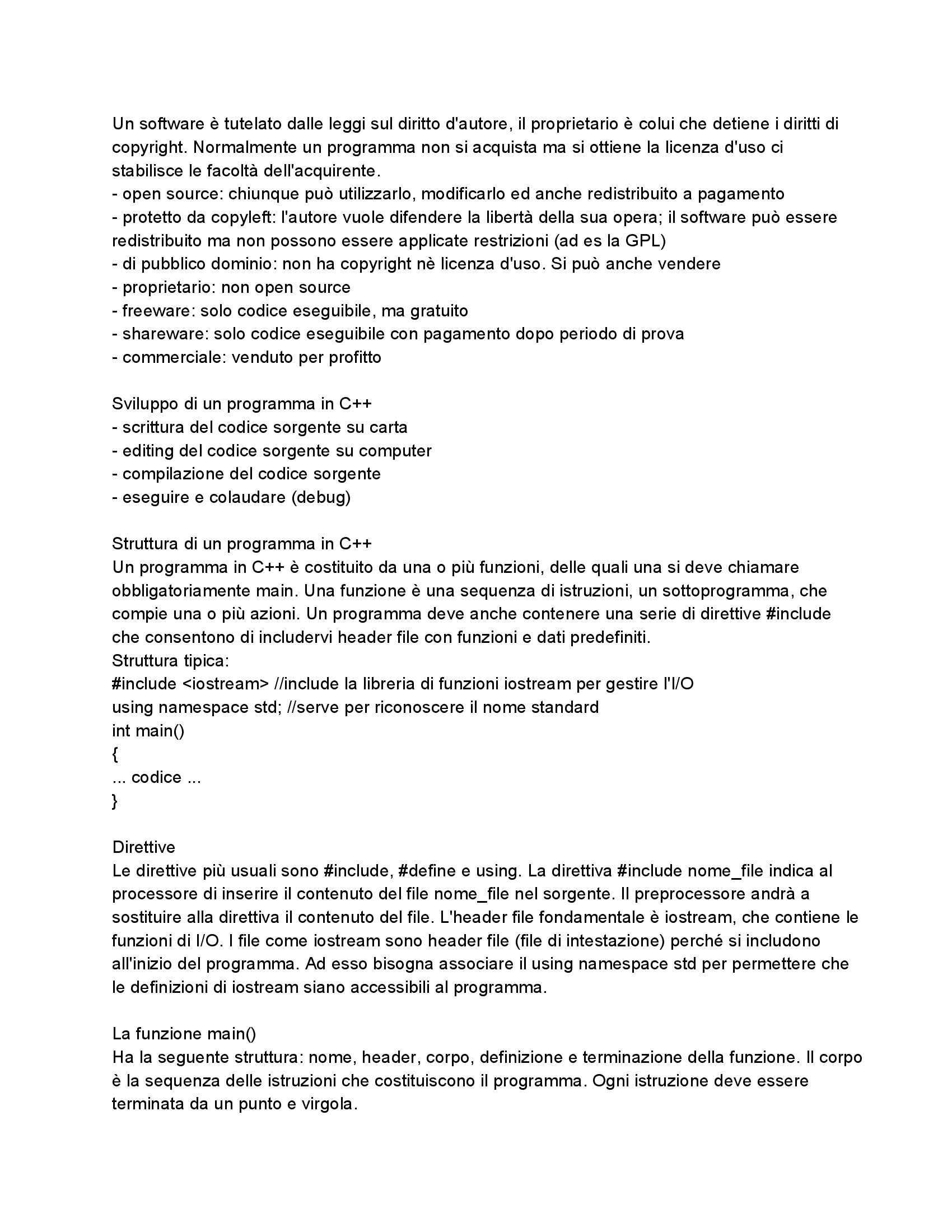 Riassunto esame Fondamenti di Informatica: Manuale di C/C++, prof. Dragoni Pag. 2
