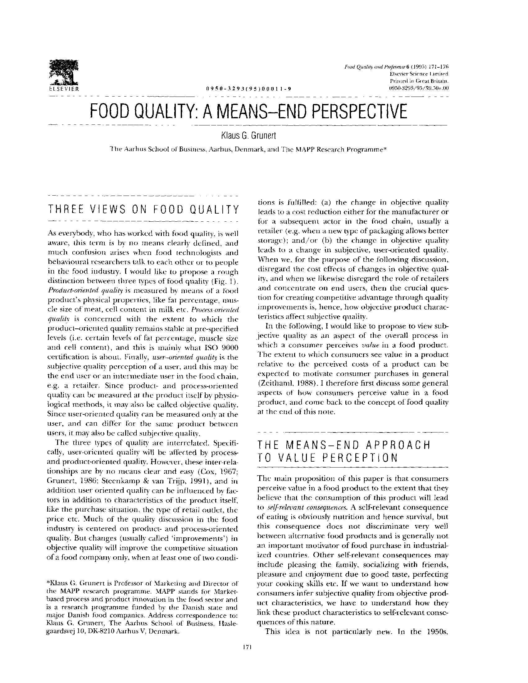 Food Quality - Grunert