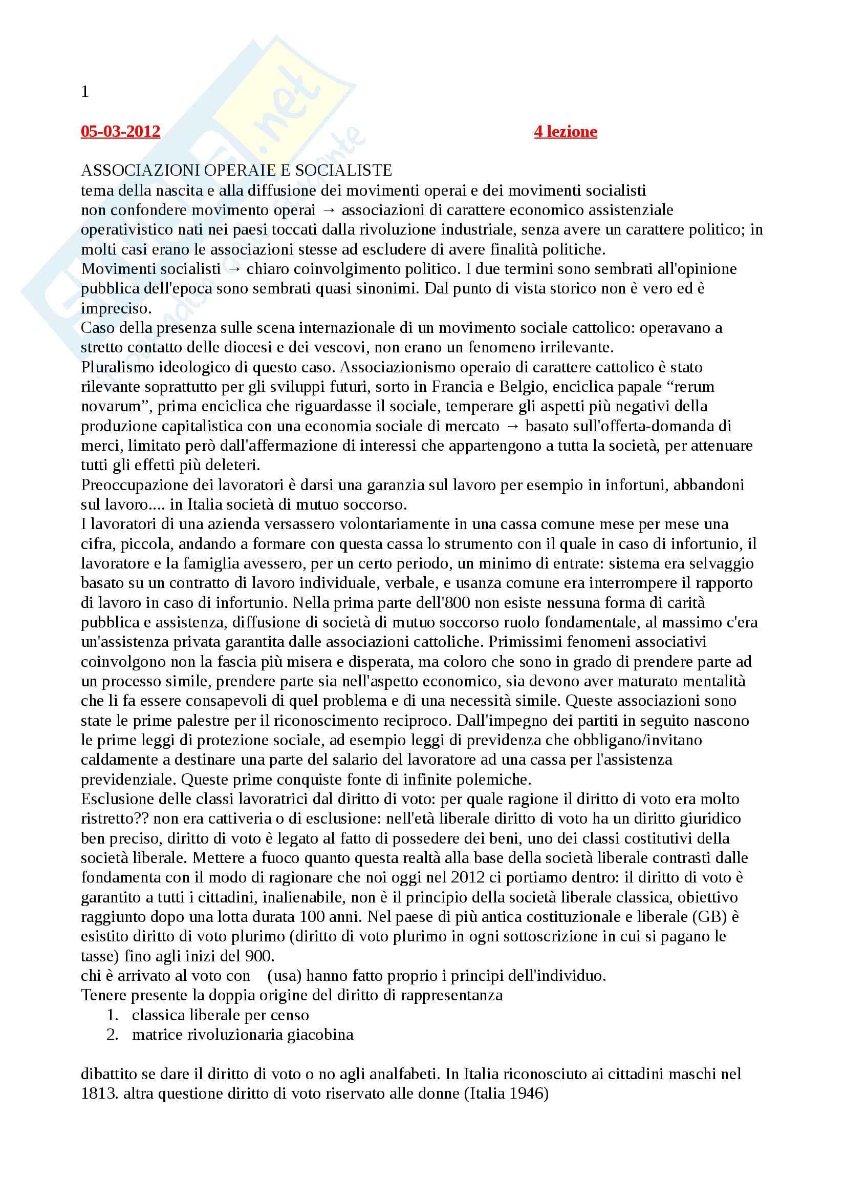 Storia contemporanea - Appunti