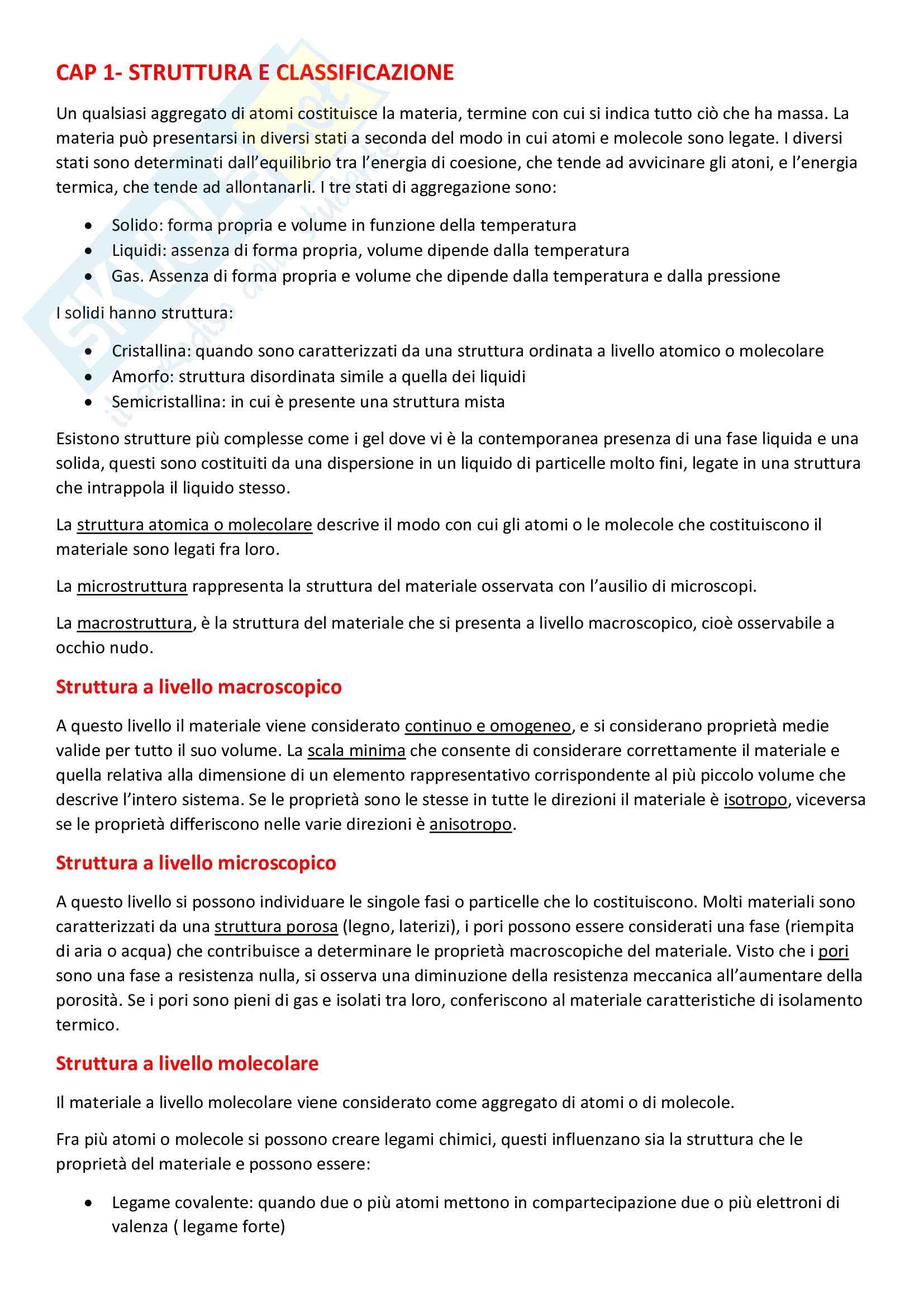 Riassunto esame di Scienza e tecnologia dei materiali, prof. Pagliolico, libro consigliato Introduzione ai materiali per l'architettura, Gastaldi e Bertolini