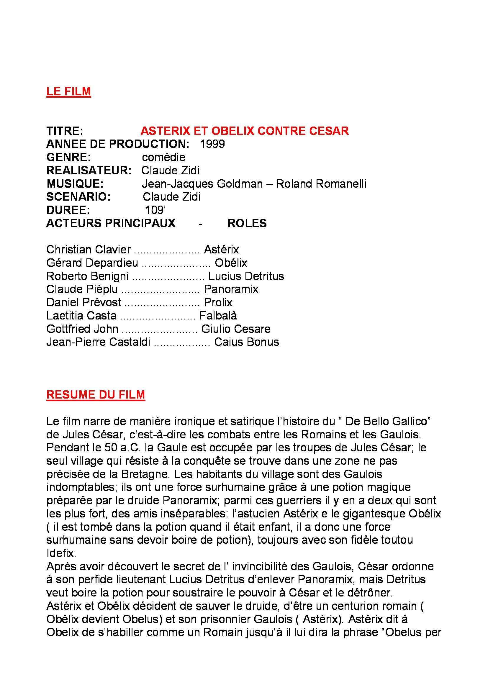 """Lettorato di Lingua francese III - analisi del film """"Asterix et Obelix contre Cesar"""""""