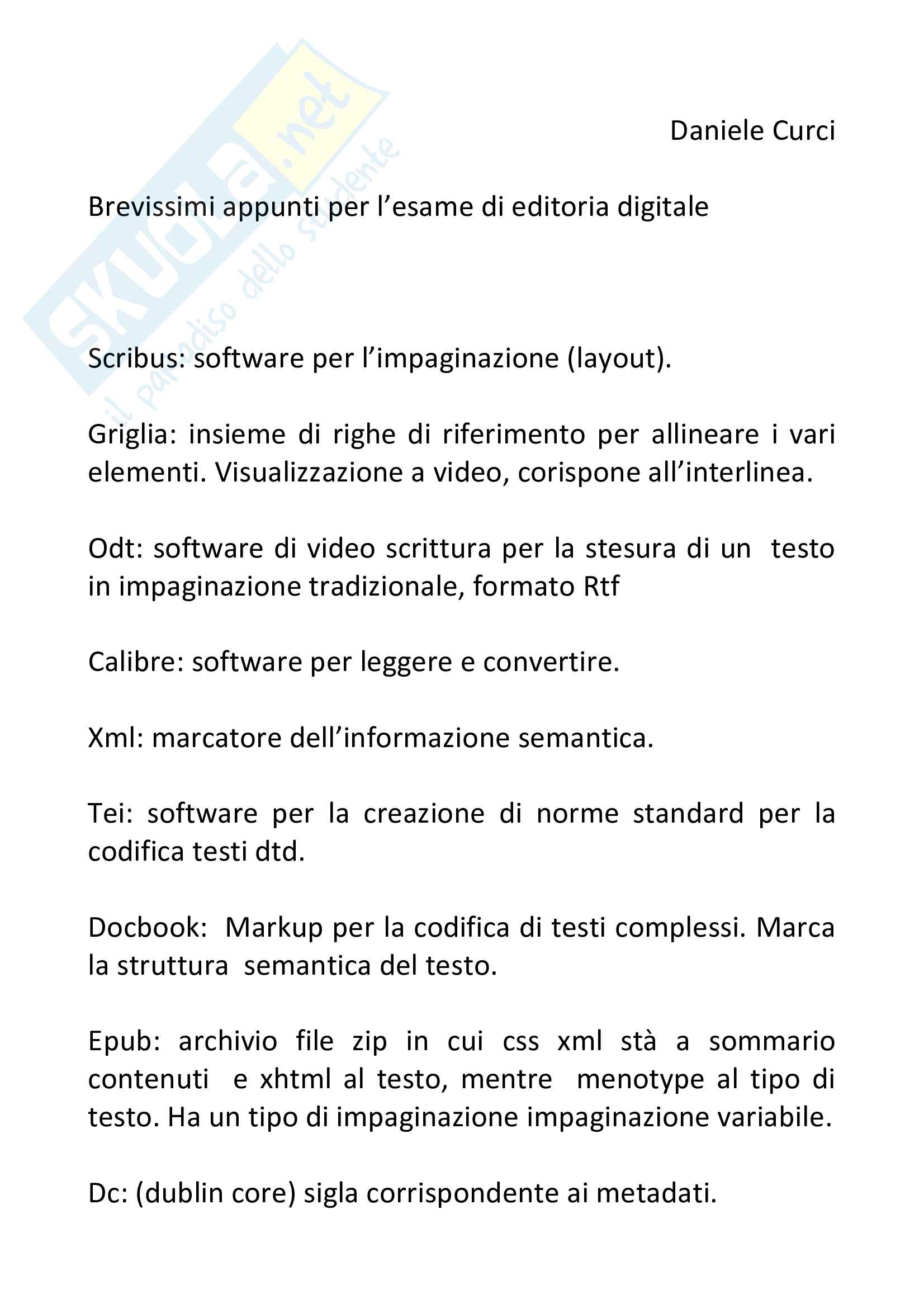Appunti Editoria digitale