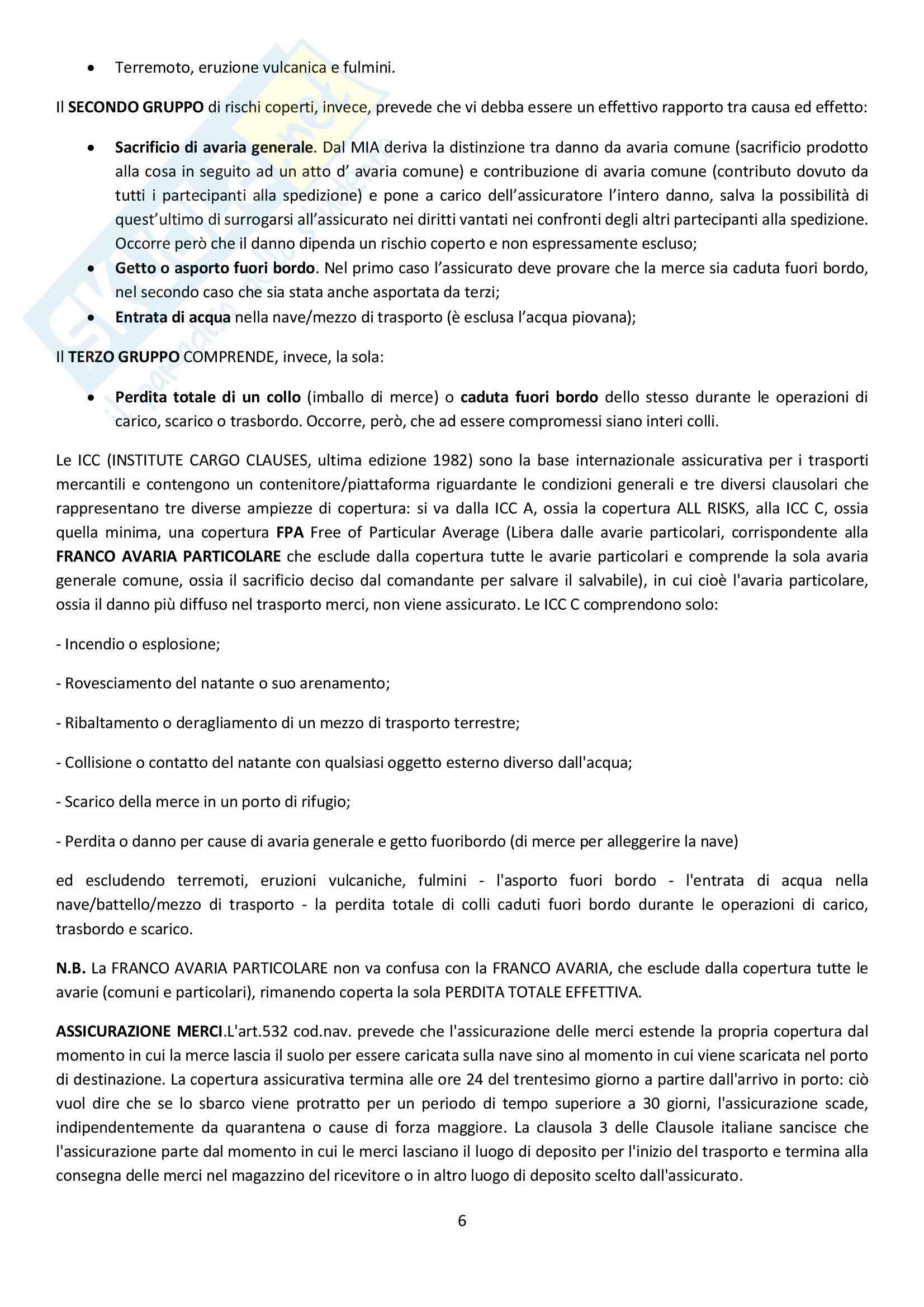 Diritto delle assicurazioni marittime - Appunti Pag. 6