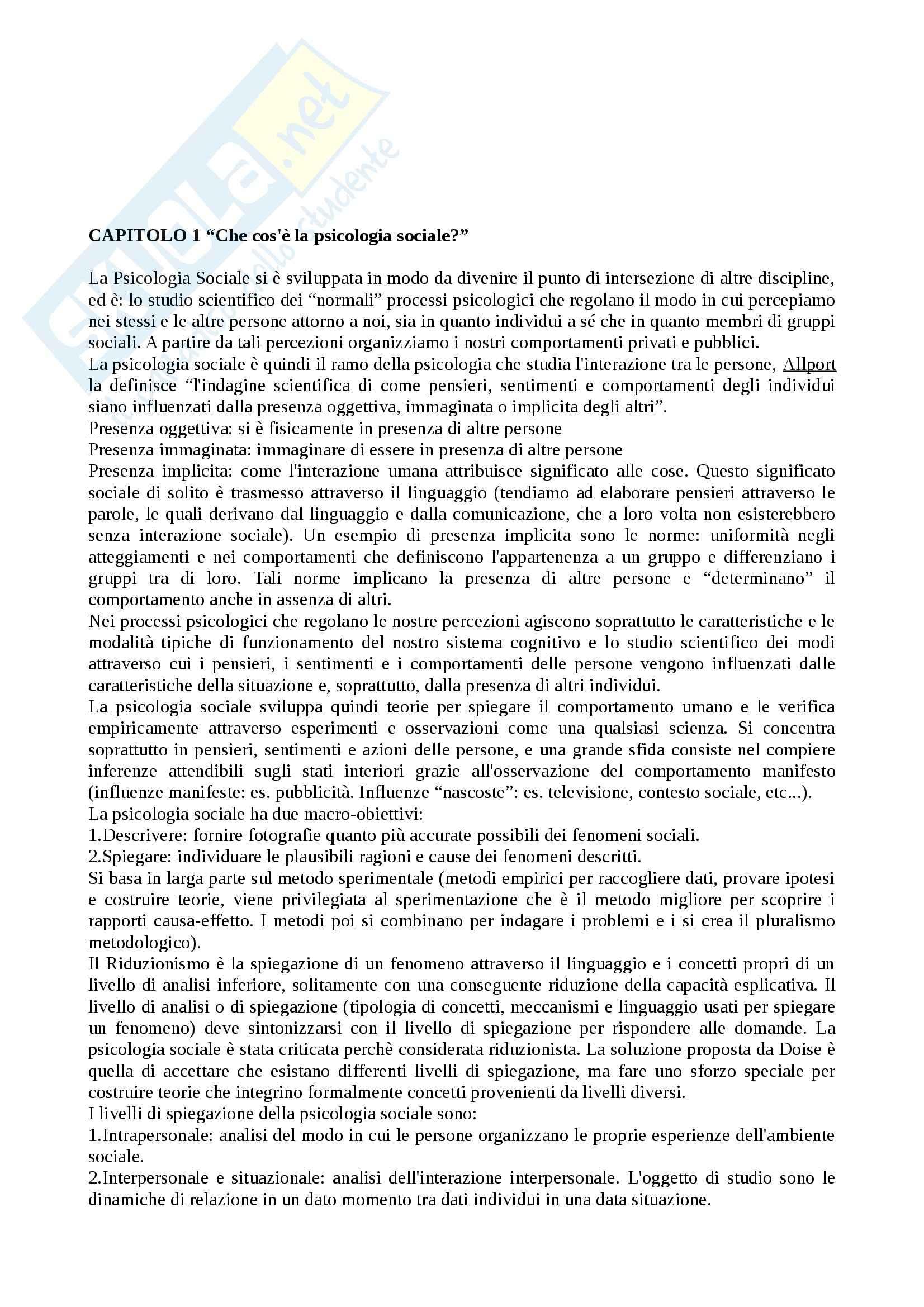 Riassunto esame Psicologia Sociale, prof. Castelli, libro consigliato Psicologia Sociale: Teorie e Applicazioni, Hogg, Vaughan